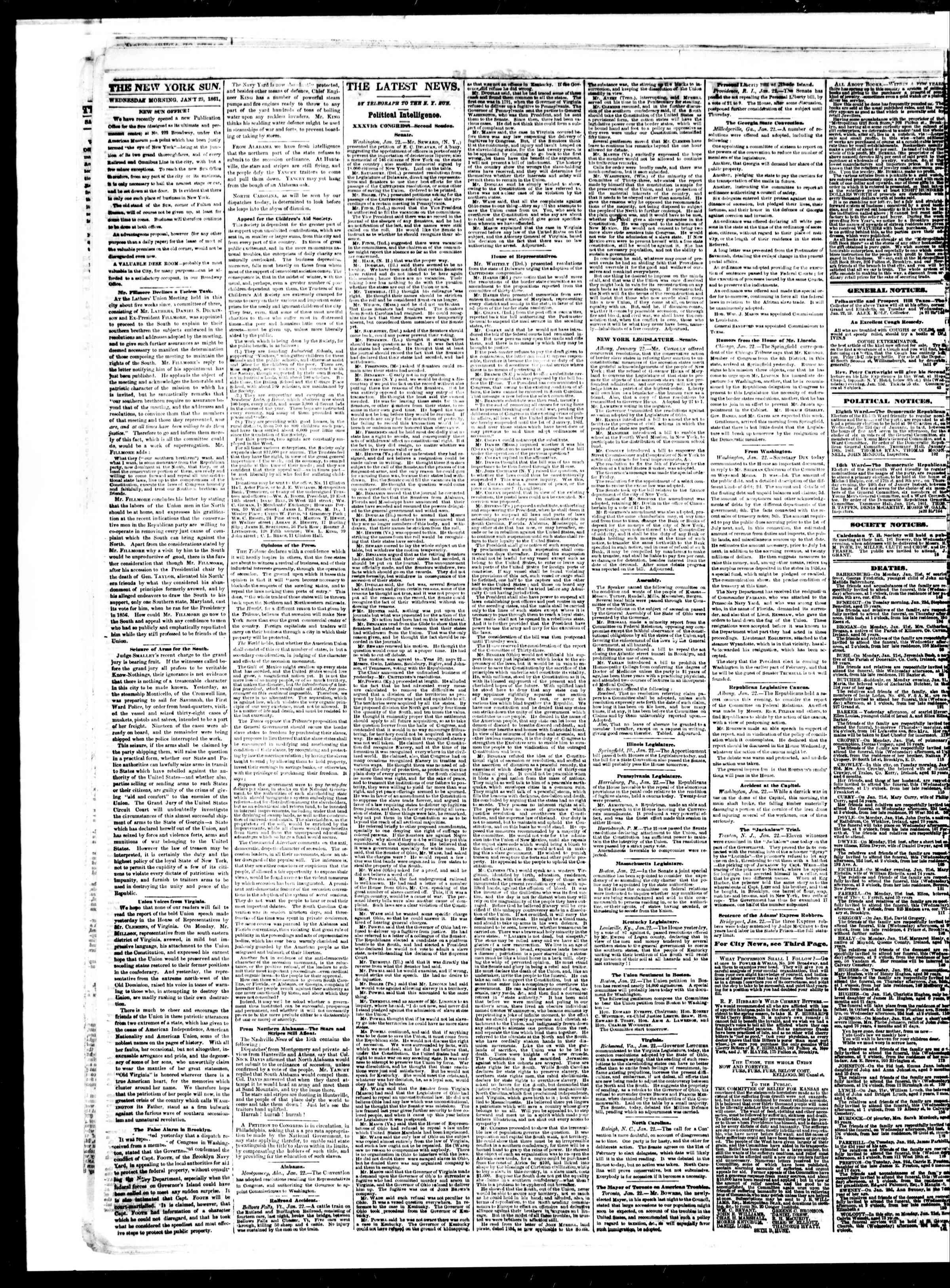 Newspaper of The Sun dated January 23, 1861 Page 2