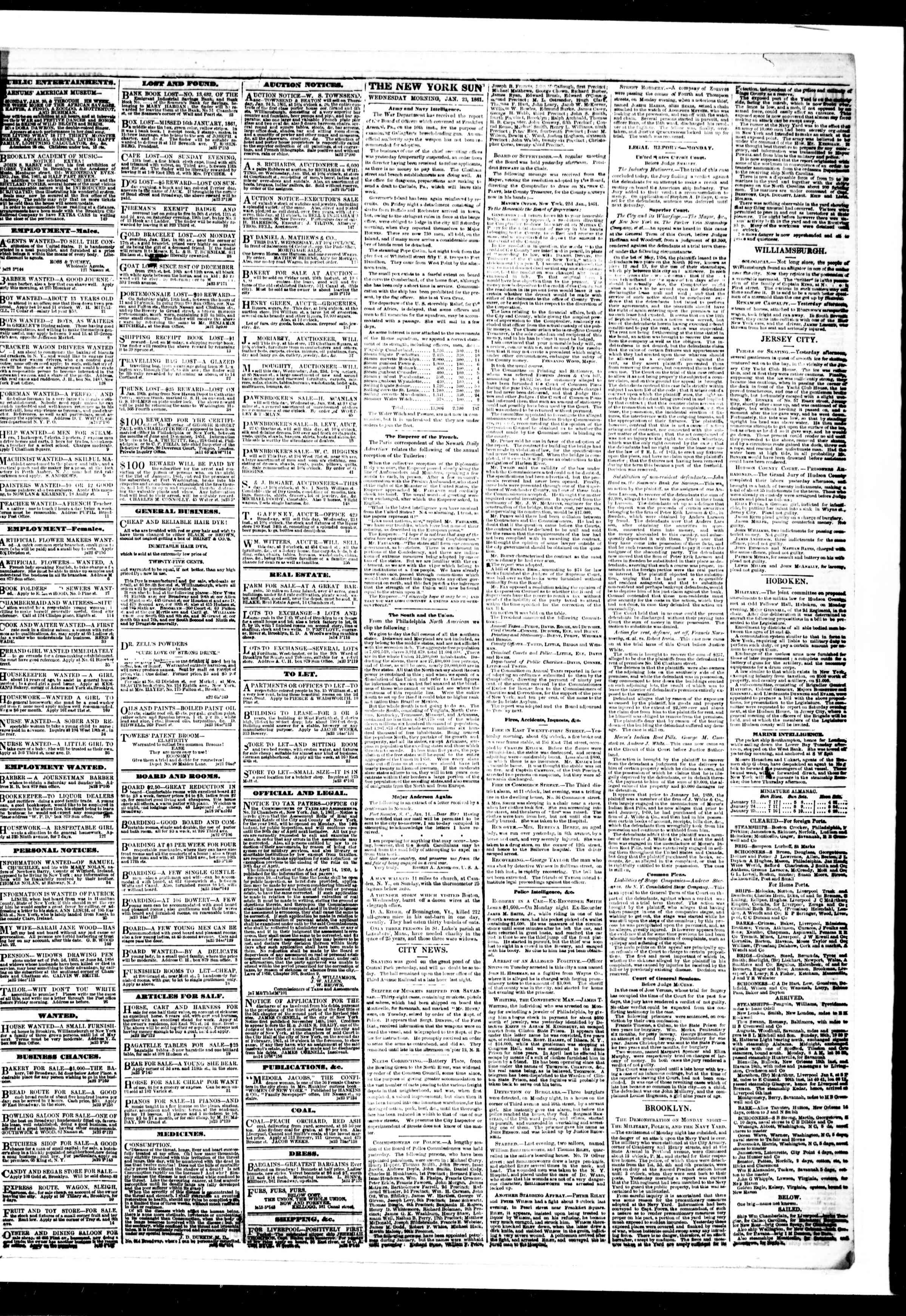 Newspaper of The Sun dated January 23, 1861 Page 3