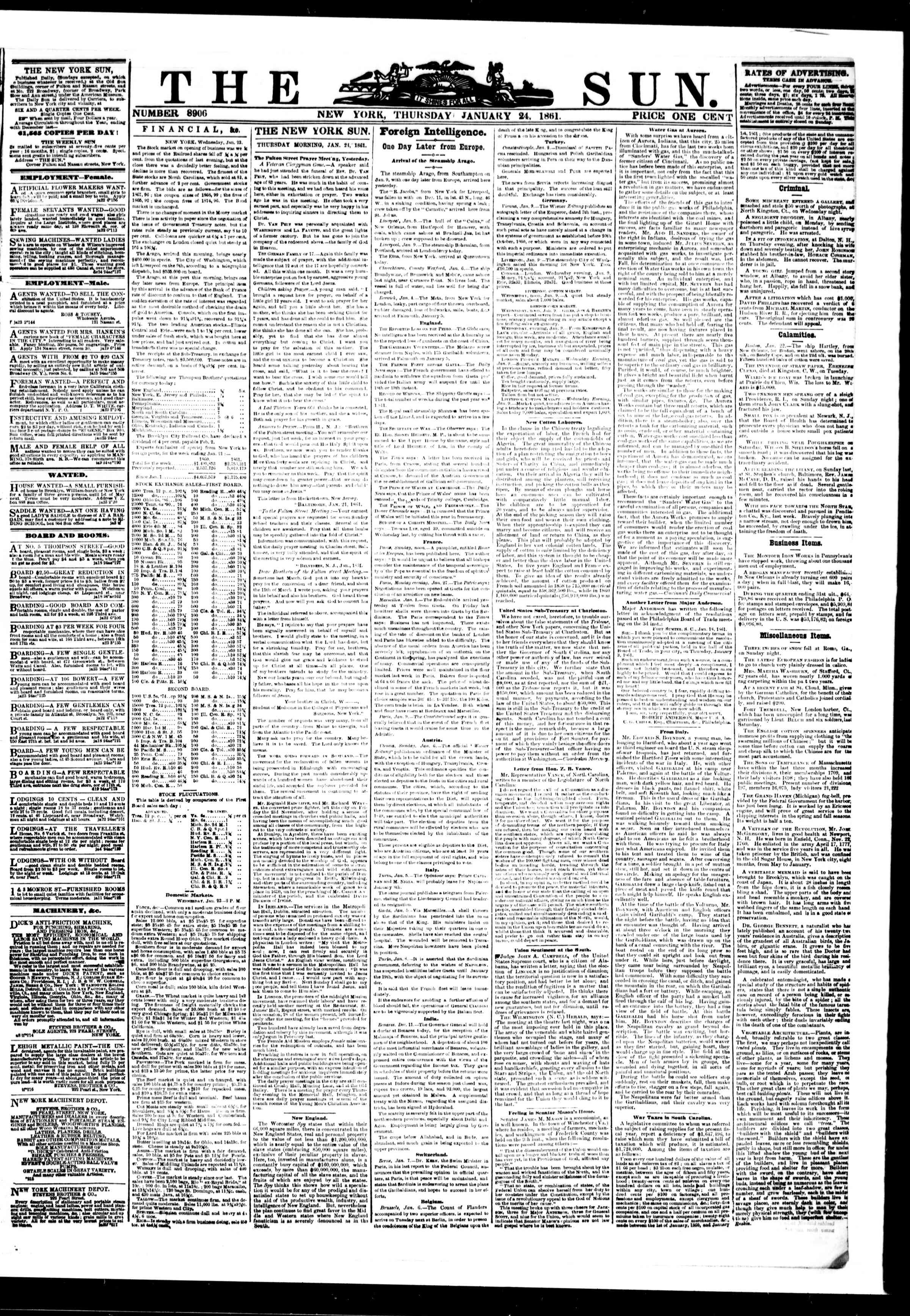 Newspaper of The Sun dated January 24, 1861 Page 1