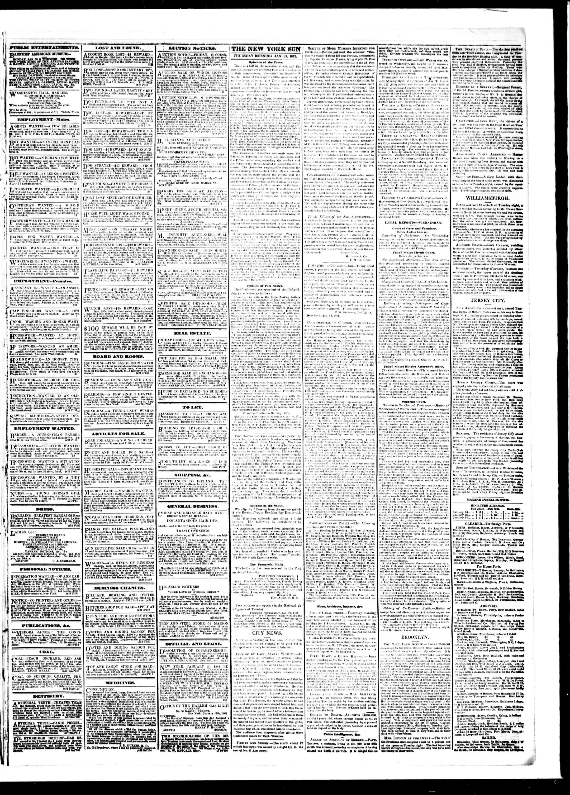 Newspaper of The Sun dated January 24, 1861 Page 3