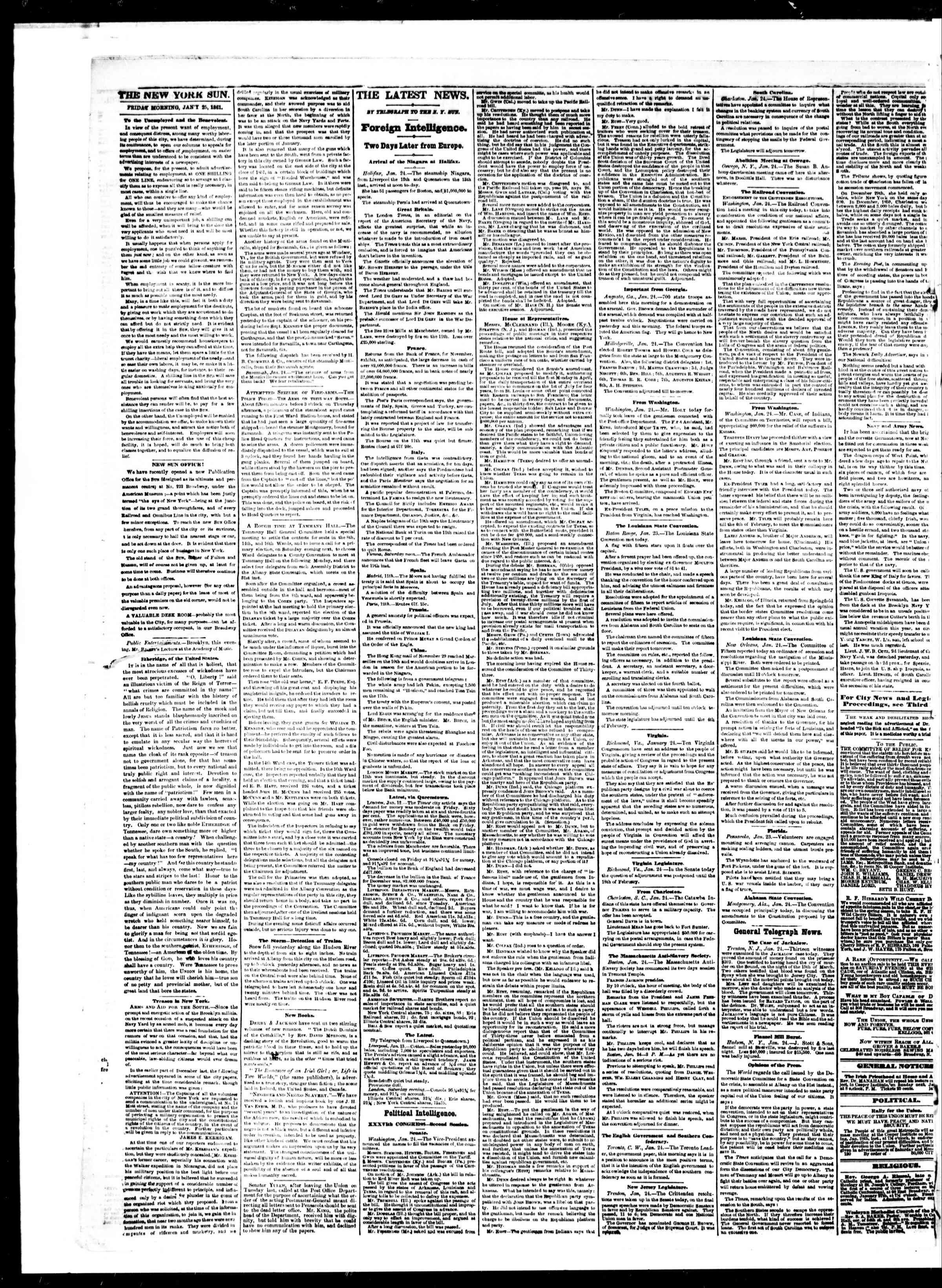 Newspaper of The Sun dated January 25, 1861 Page 2
