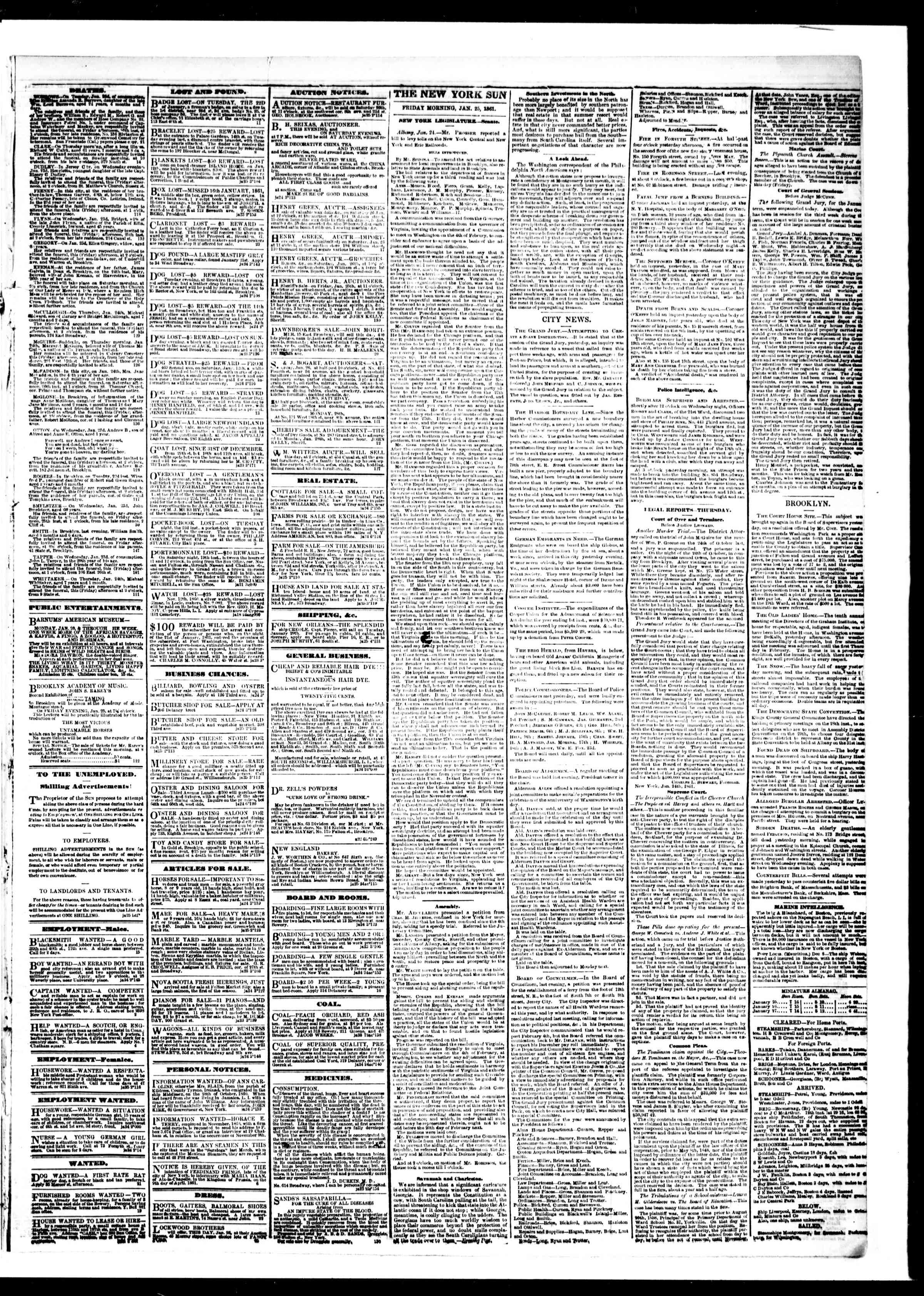 Newspaper of The Sun dated 25 Ocak 1861 Page 3