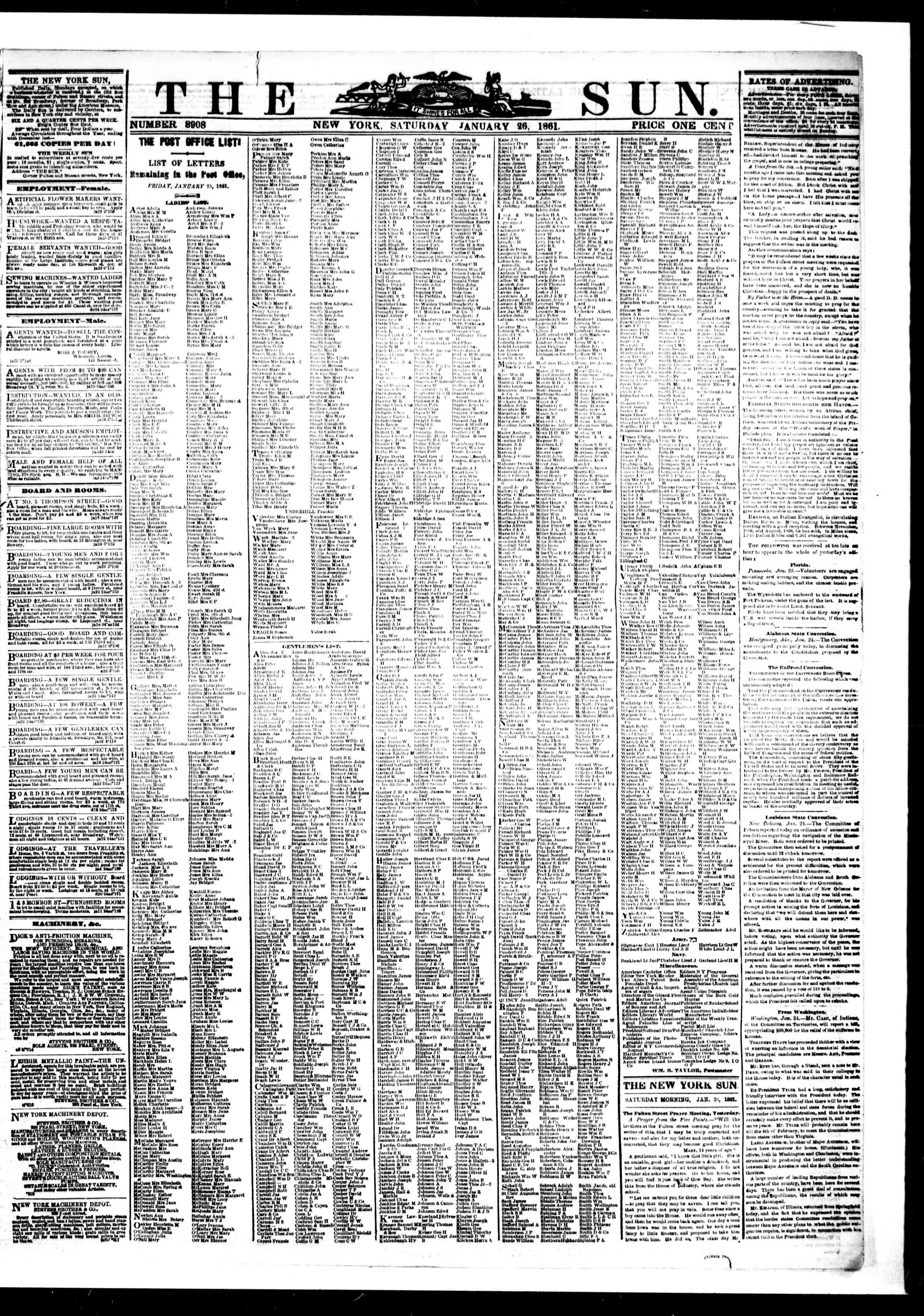 Newspaper of The Sun dated January 26, 1861 Page 1