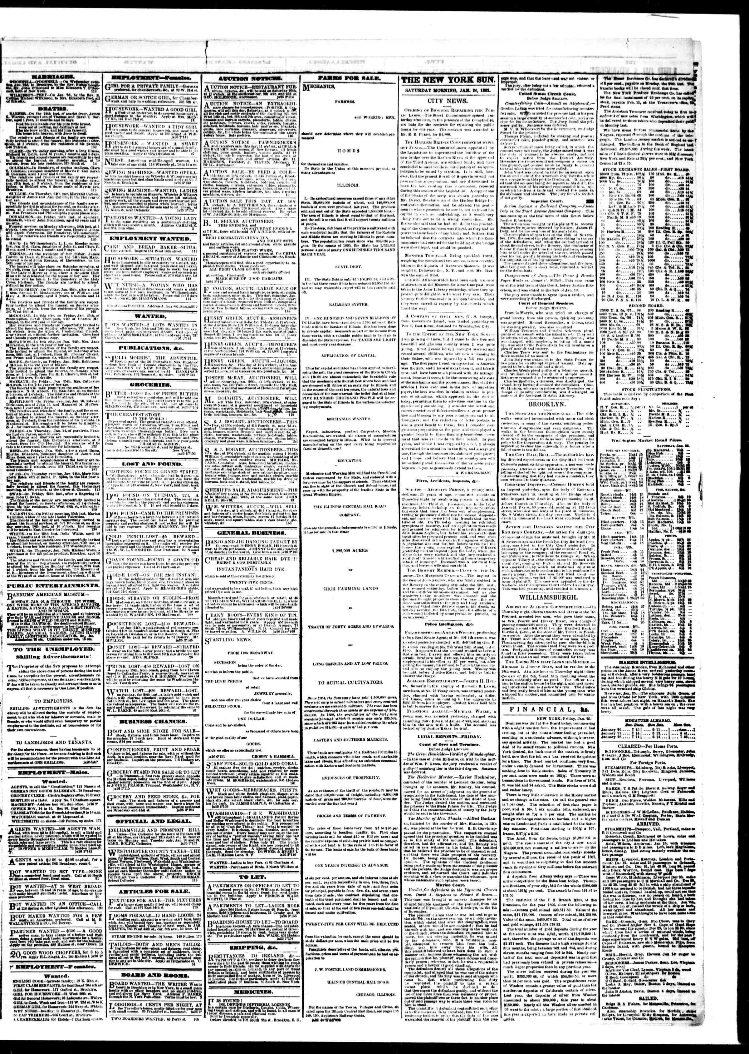 Newspaper of The Sun dated January 26, 1861 Page 3