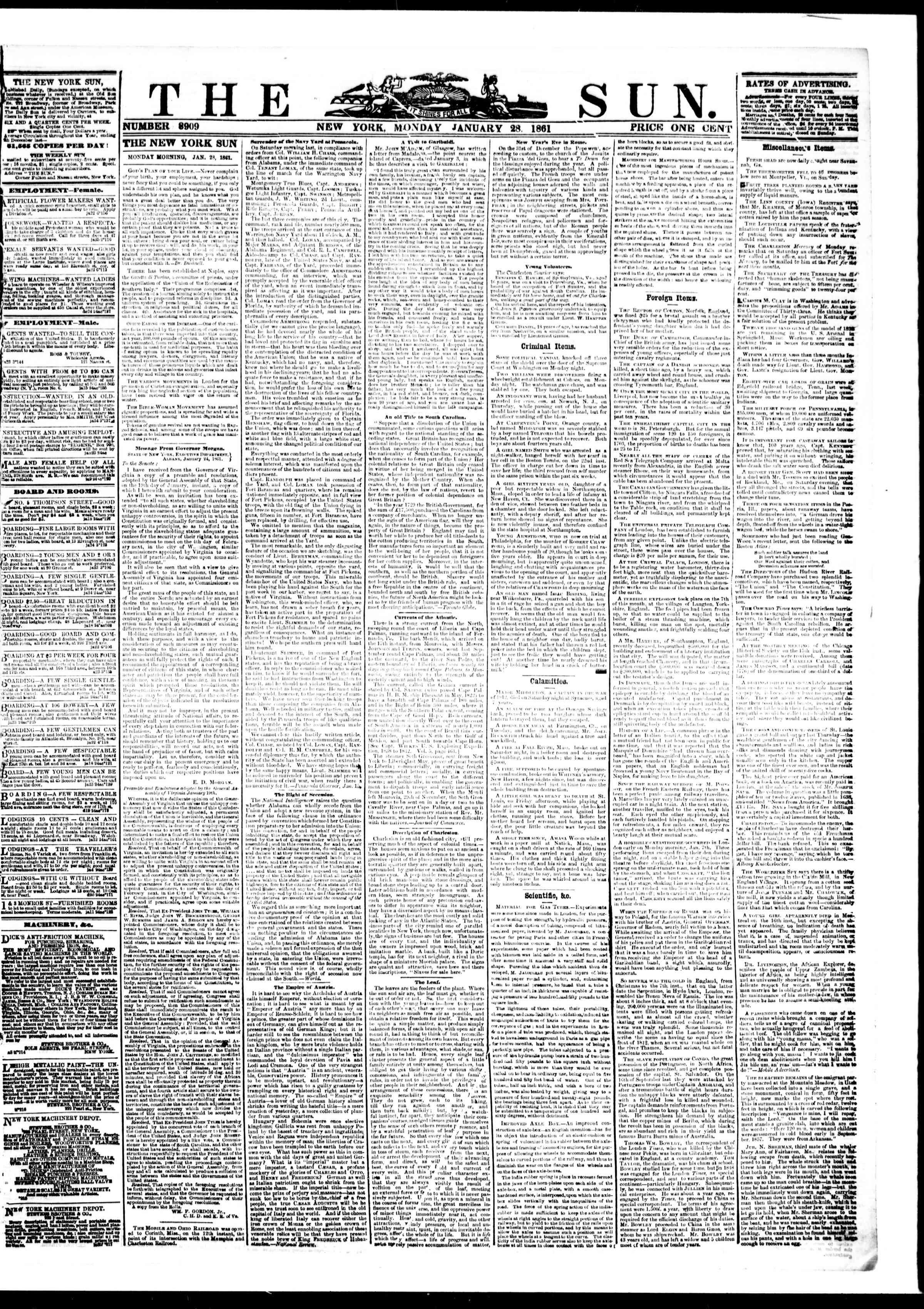 28 Ocak 1861 tarihli The Sun Gazetesi Sayfa 1