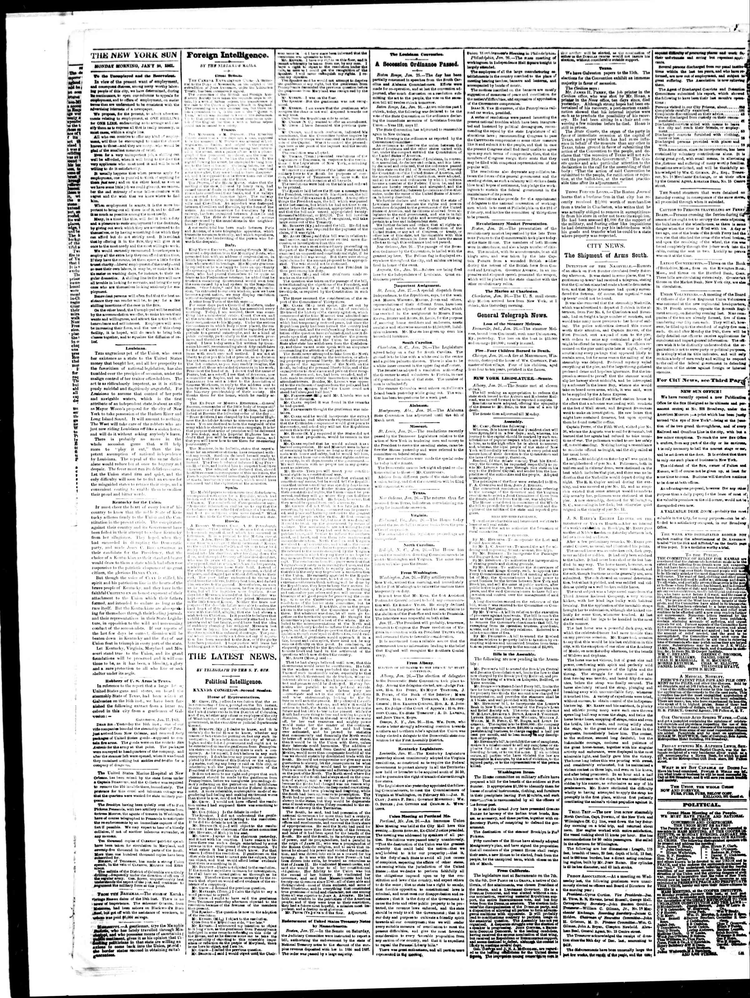 Newspaper of The Sun dated January 28, 1861 Page 2