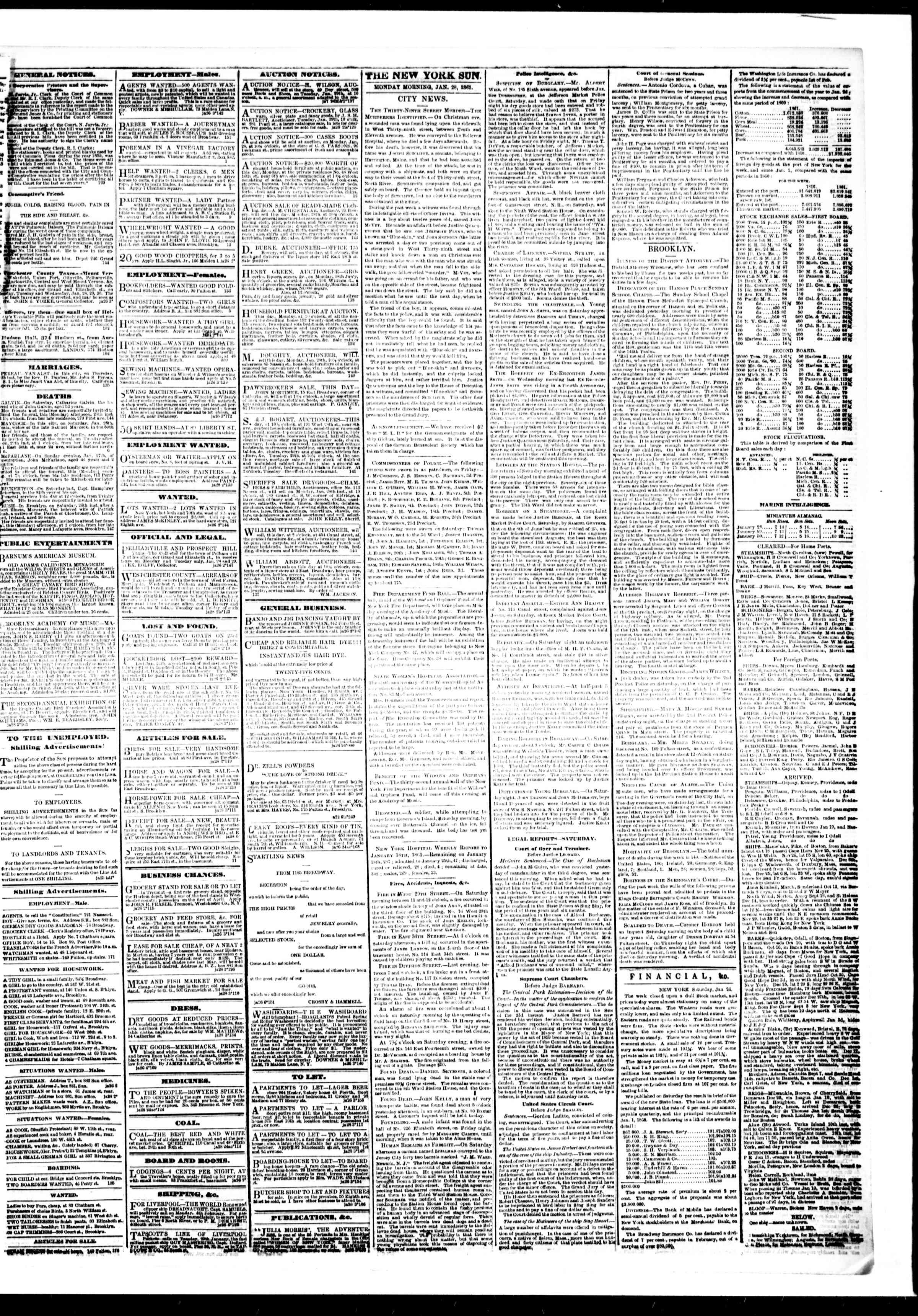 Newspaper of The Sun dated January 28, 1861 Page 3