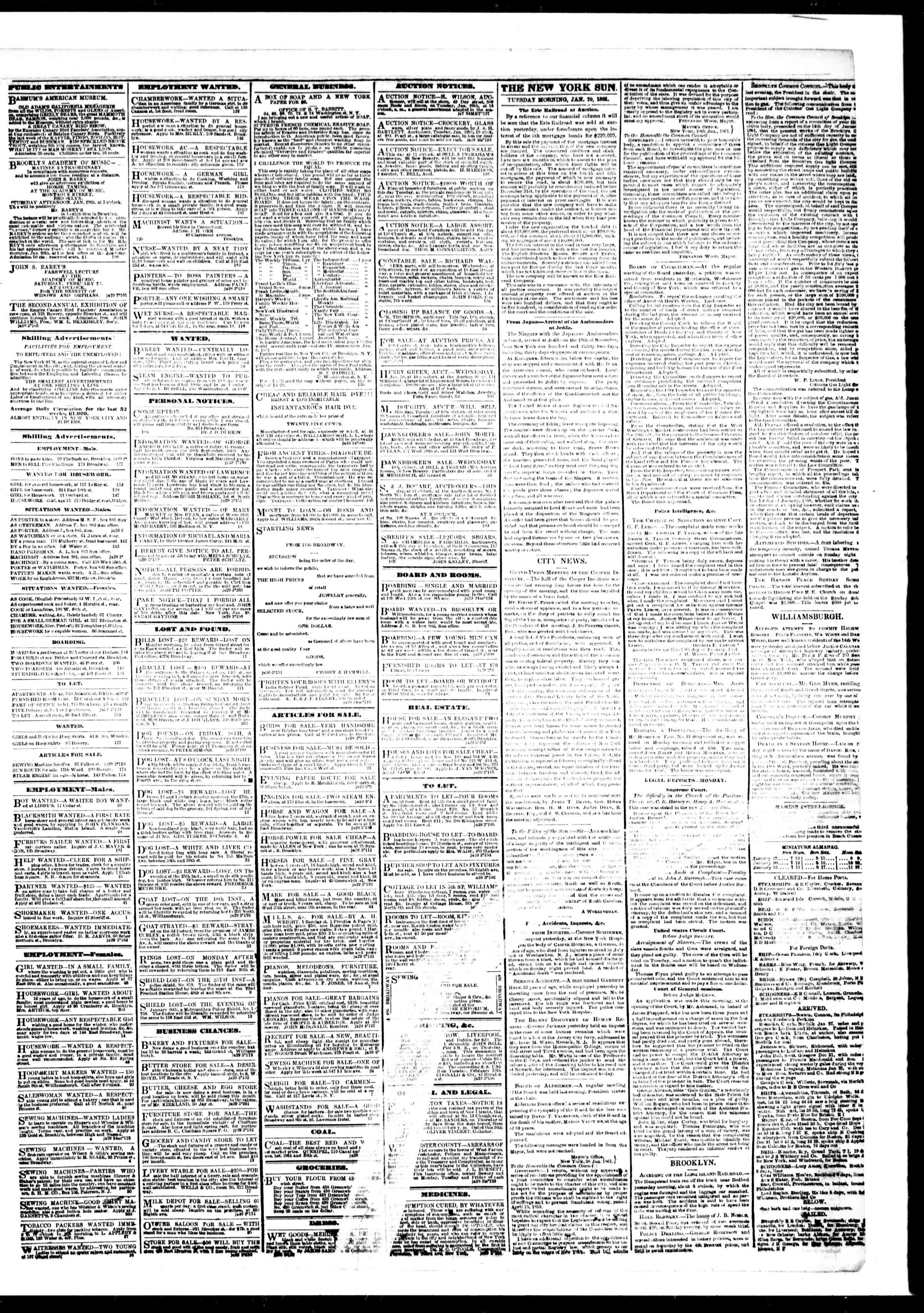 Newspaper of The Sun dated January 29, 1861 Page 3