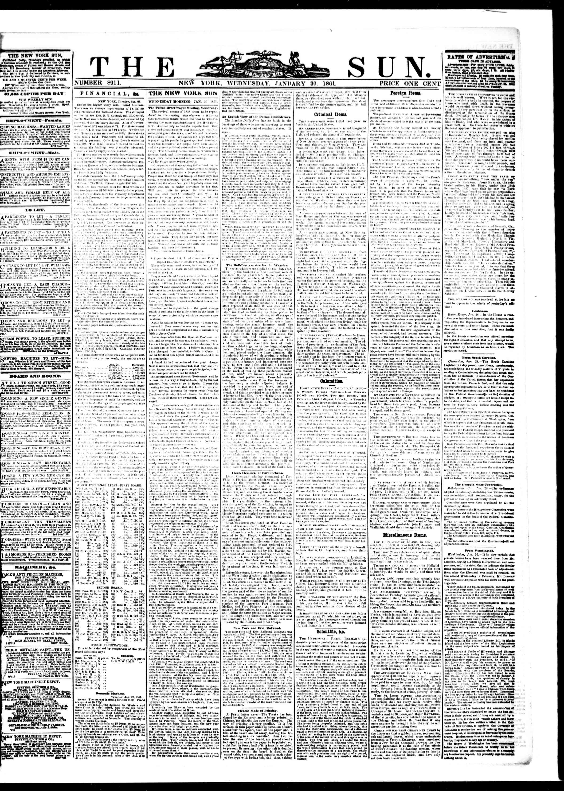 Newspaper of The Sun dated January 30, 1861 Page 1
