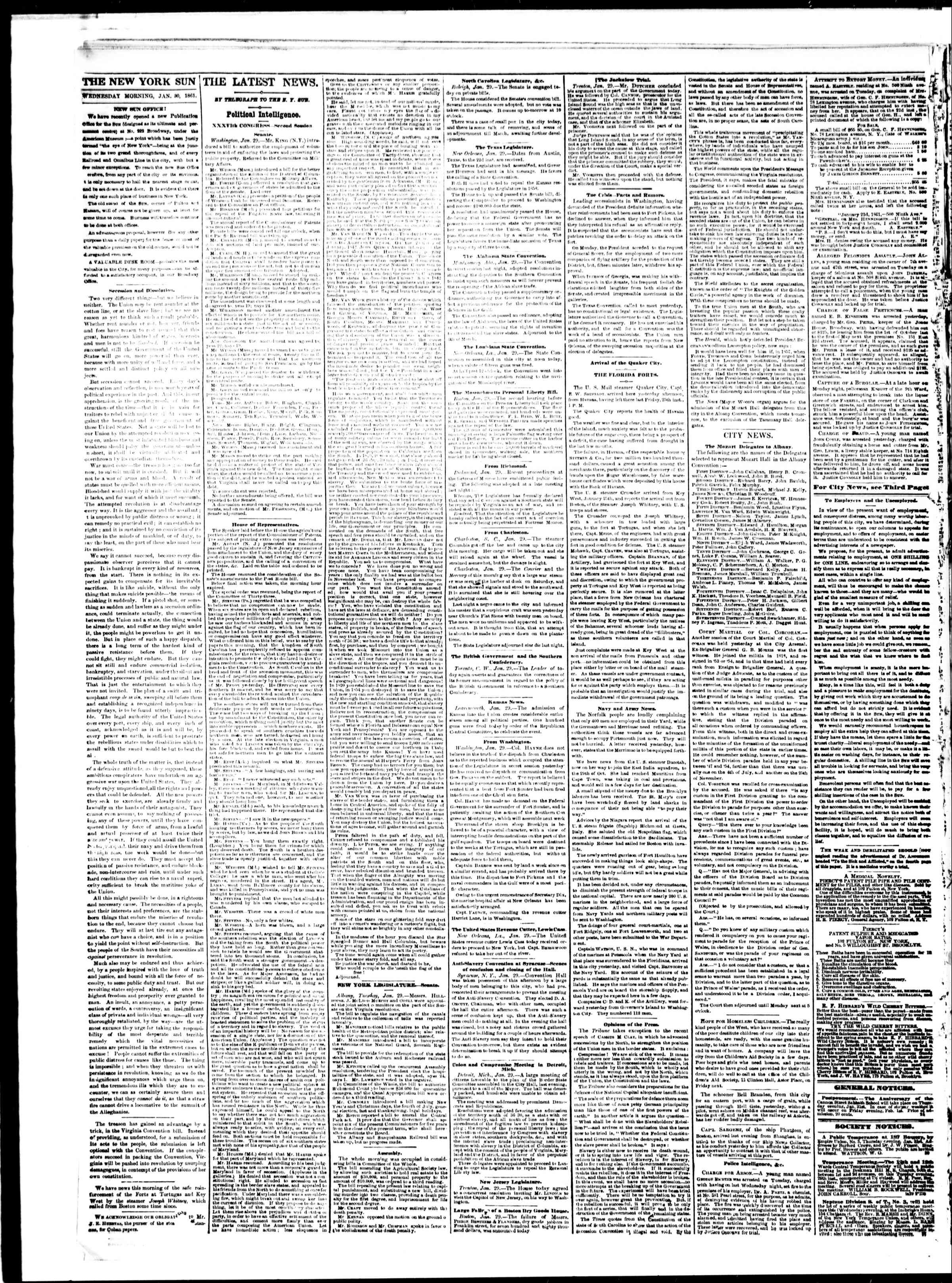 Newspaper of The Sun dated January 30, 1861 Page 2