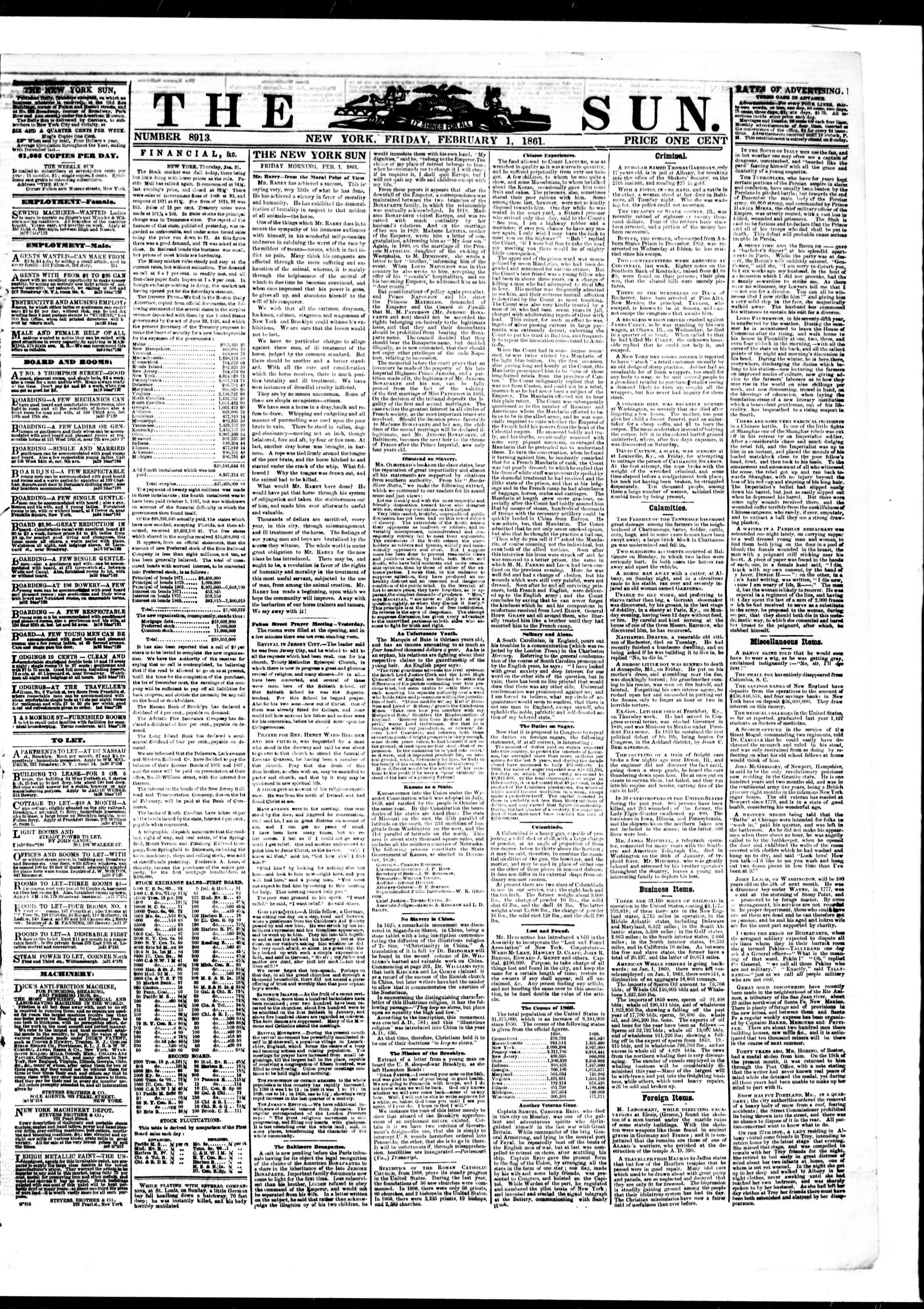 Newspaper of The Sun dated February 1, 1861 Page 1