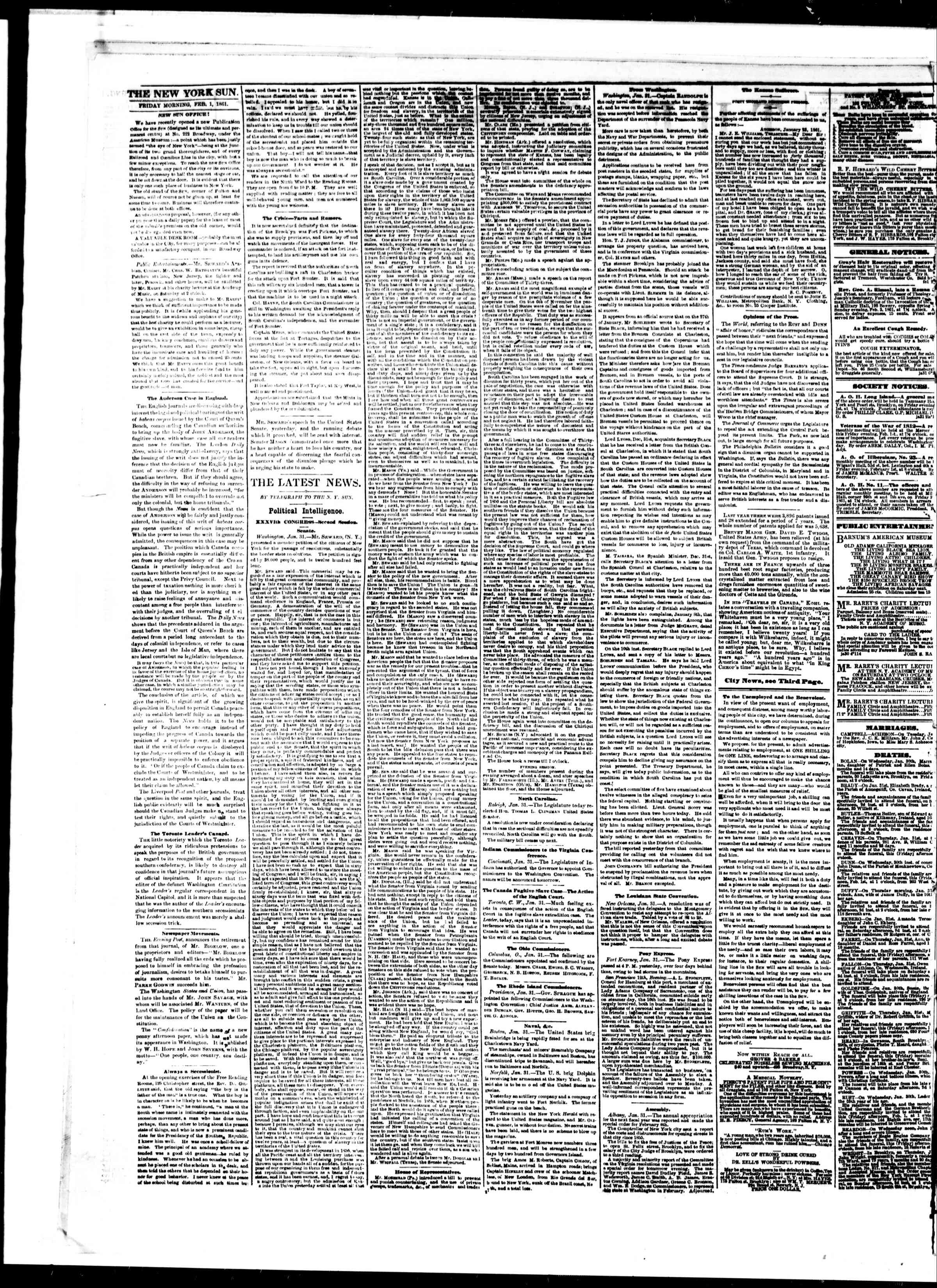Newspaper of The Sun dated February 1, 1861 Page 2