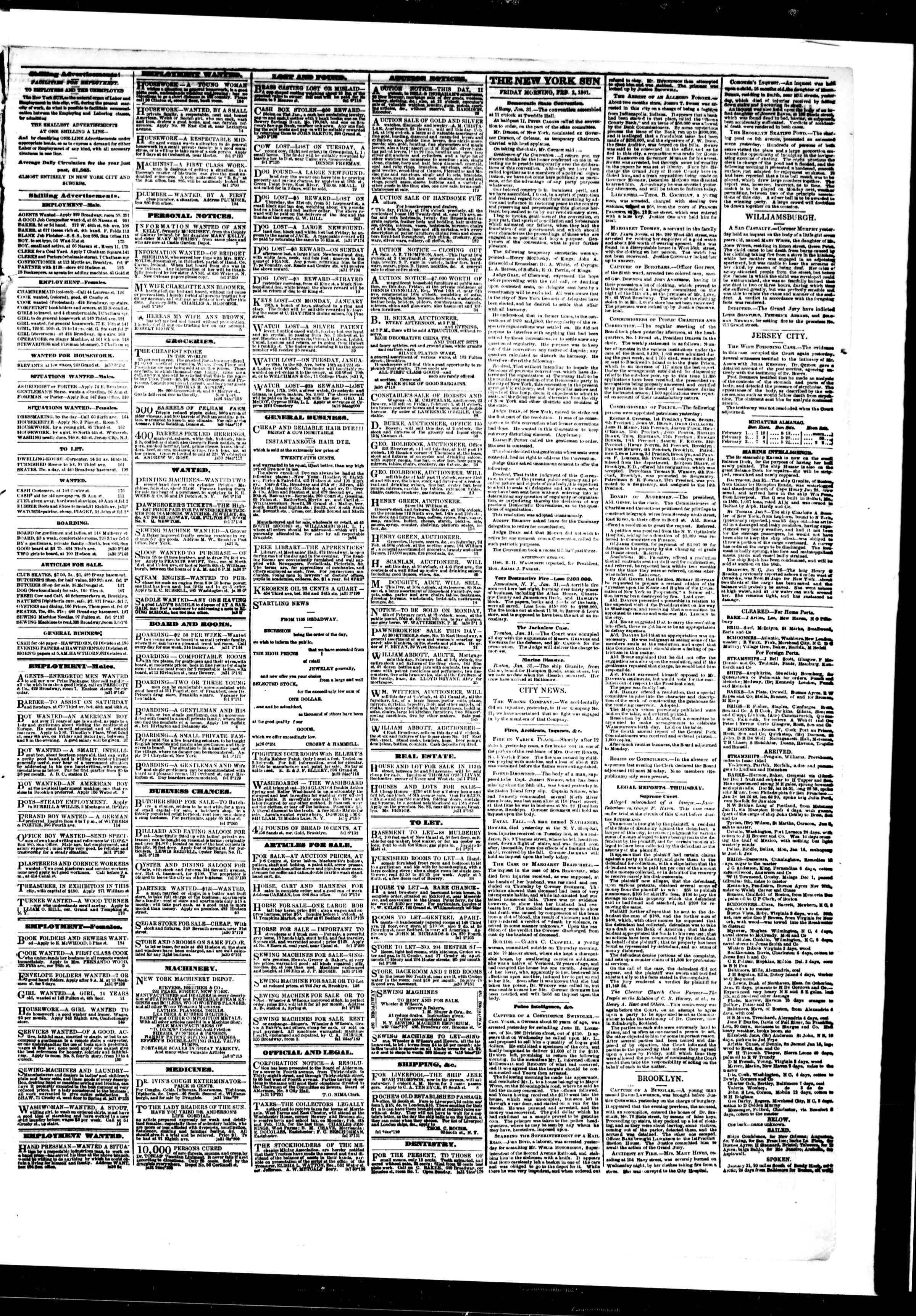 Newspaper of The Sun dated February 1, 1861 Page 3