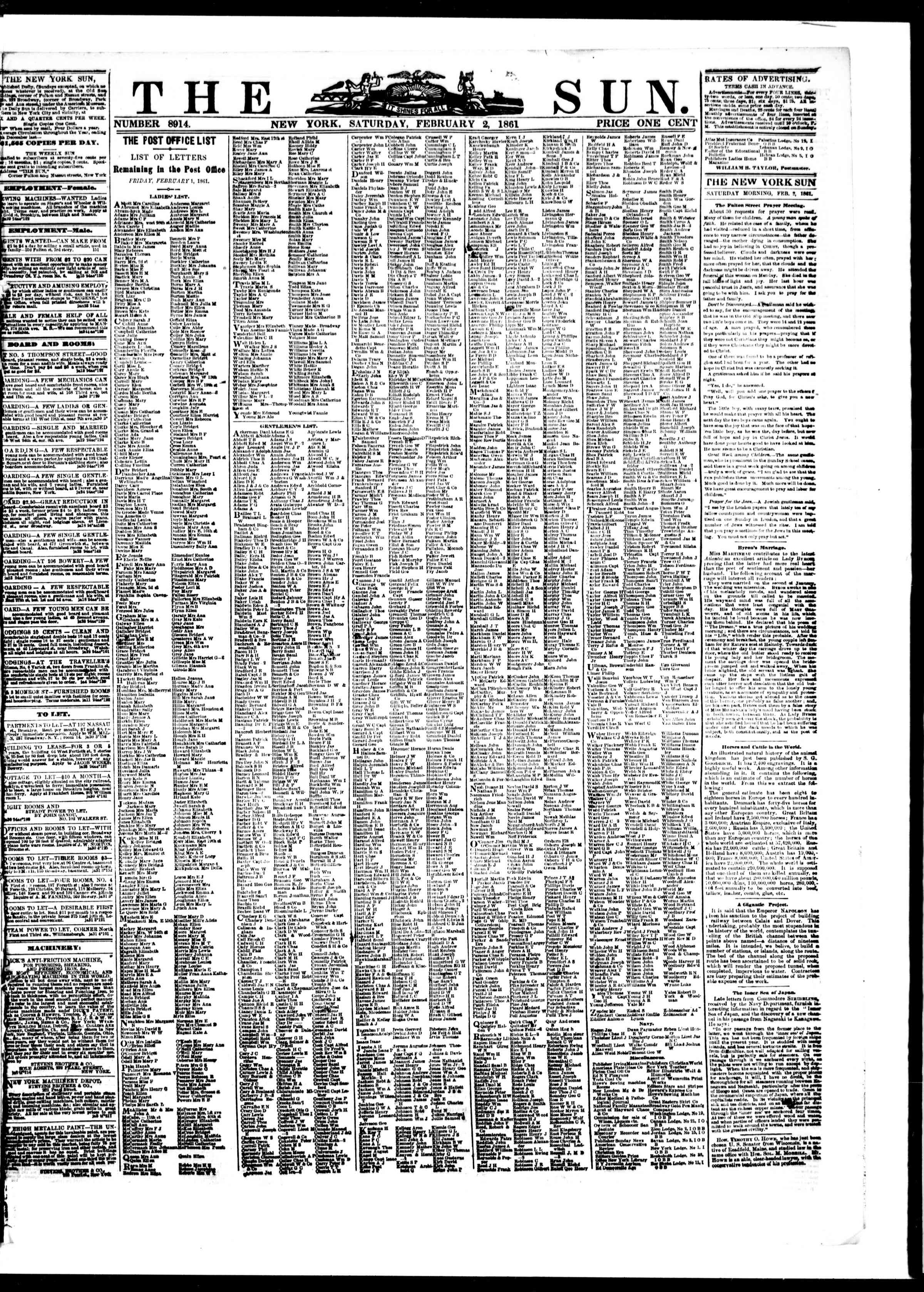 Newspaper of The Sun dated February 2, 1861 Page 1
