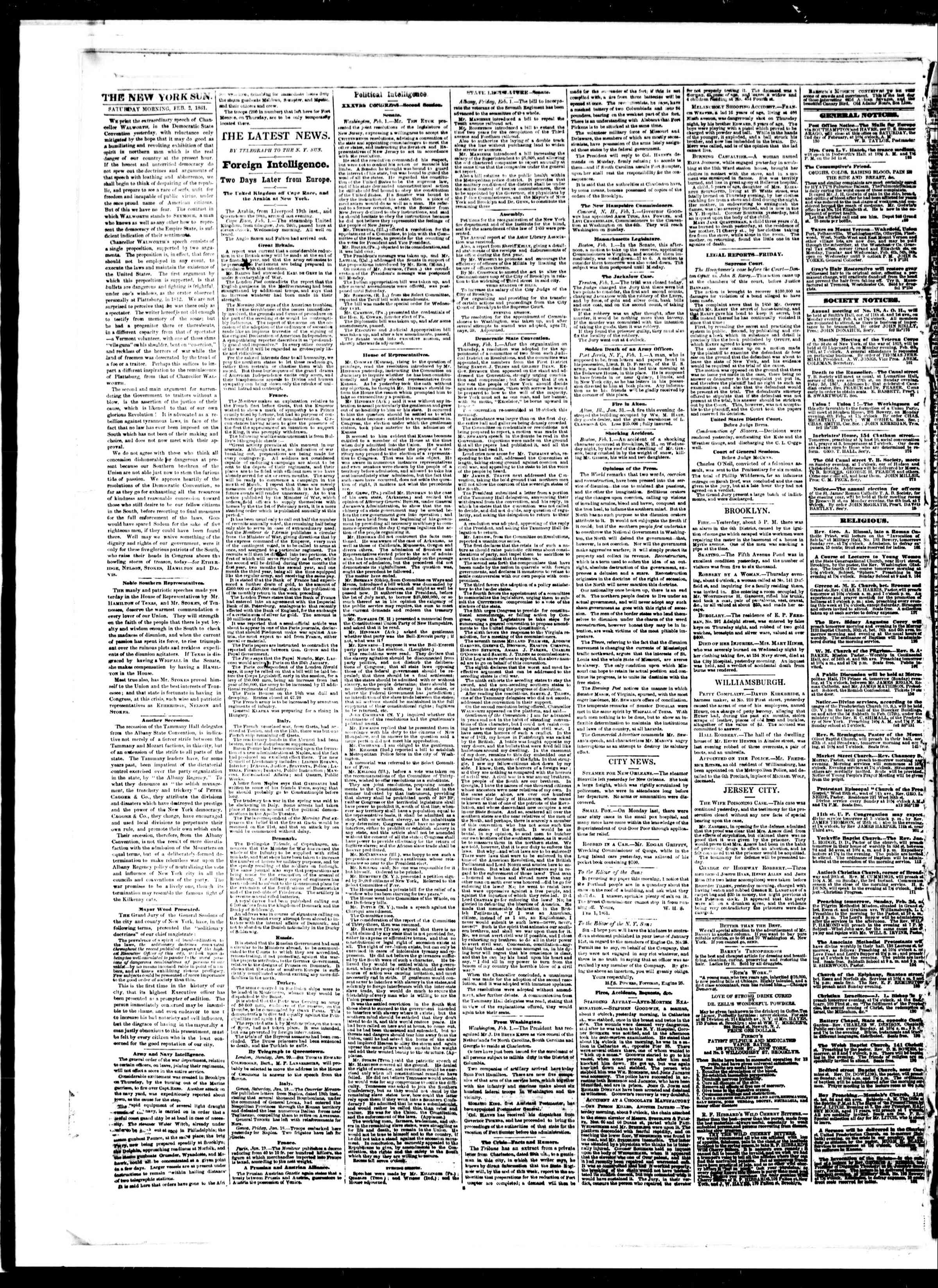 Newspaper of The Sun dated 2 Şubat 1861 Page 2