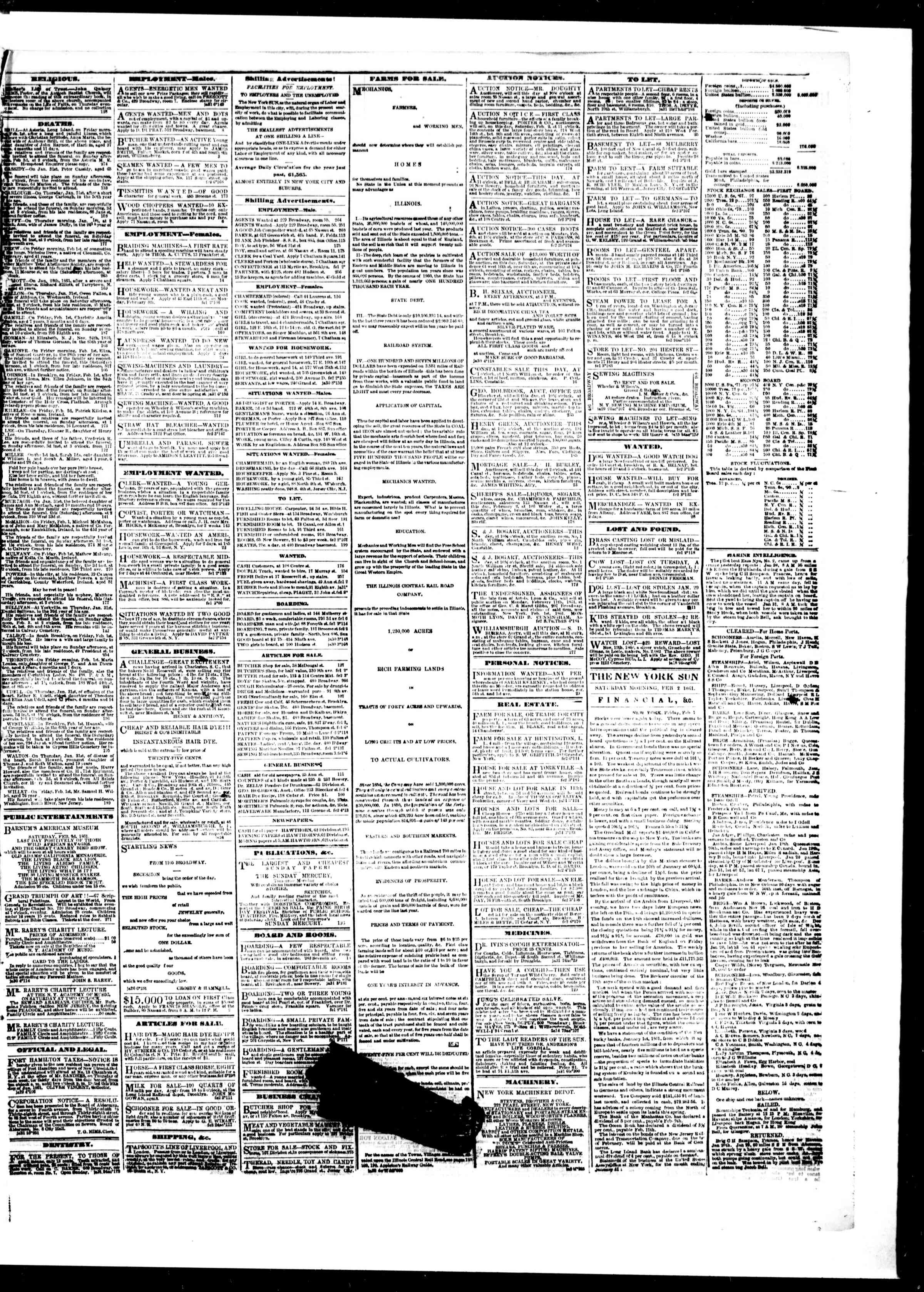 Newspaper of The Sun dated February 2, 1861 Page 3