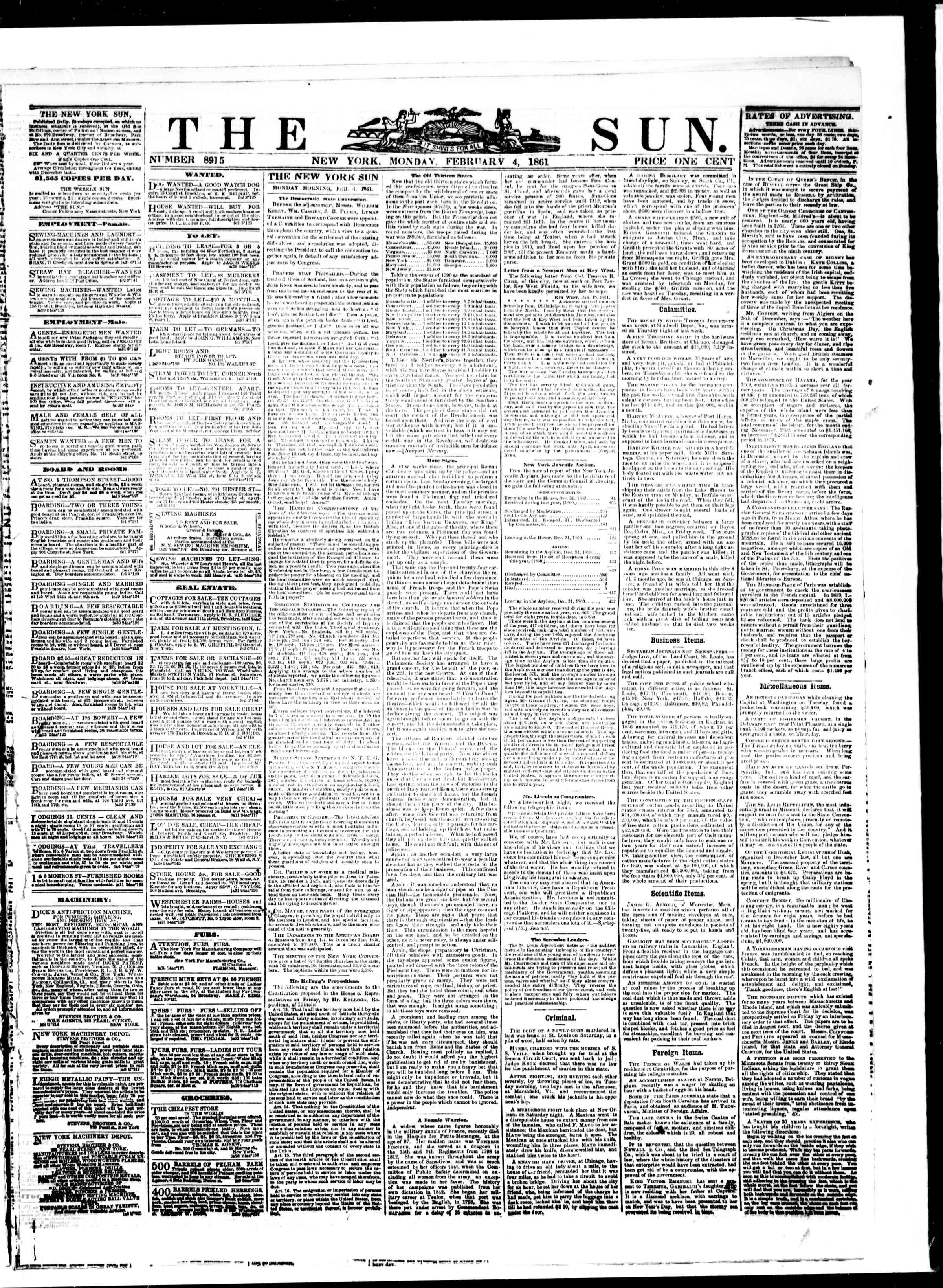 Newspaper of The Sun dated February 4, 1861 Page 1