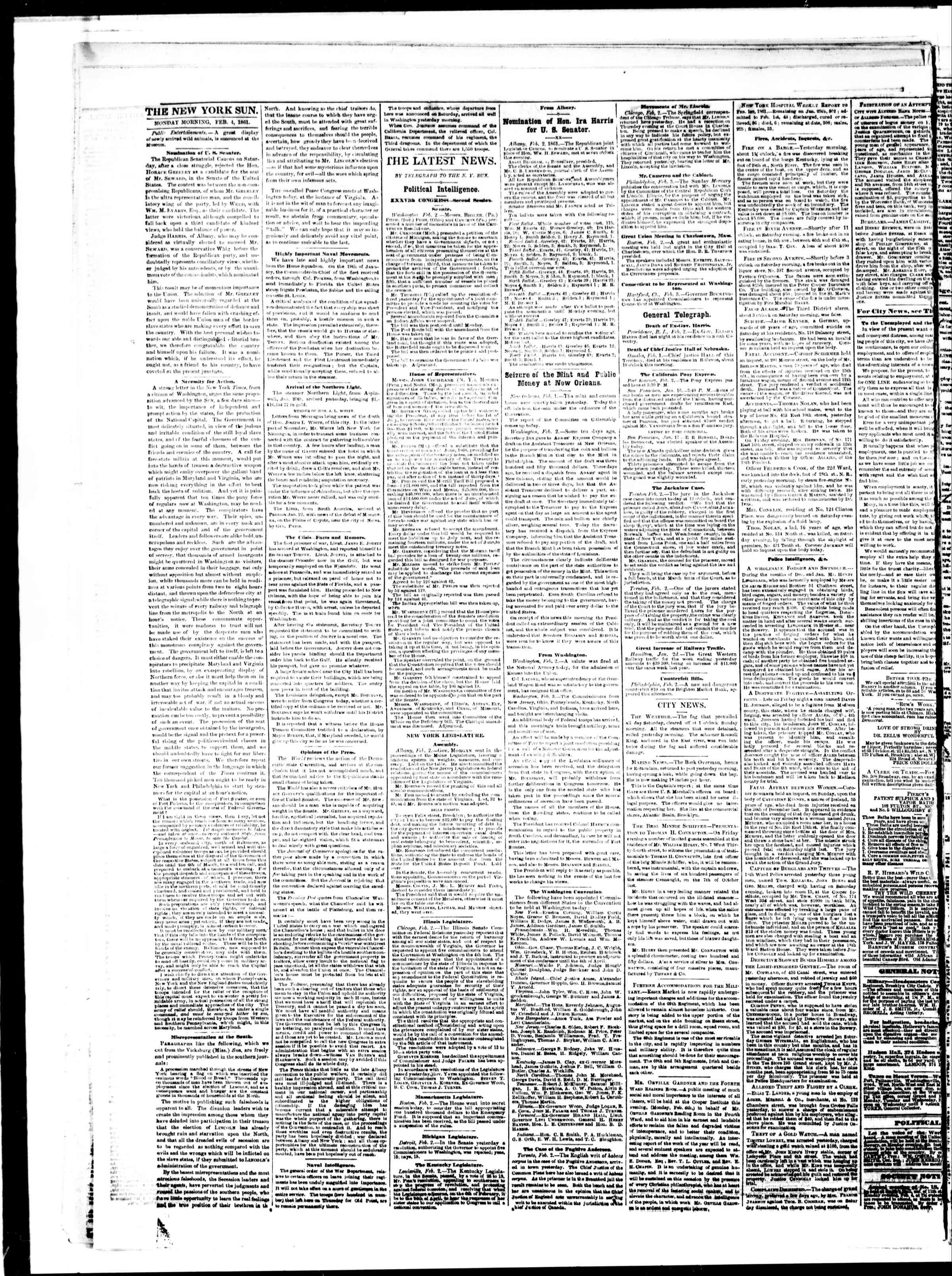 Newspaper of The Sun dated February 4, 1861 Page 2