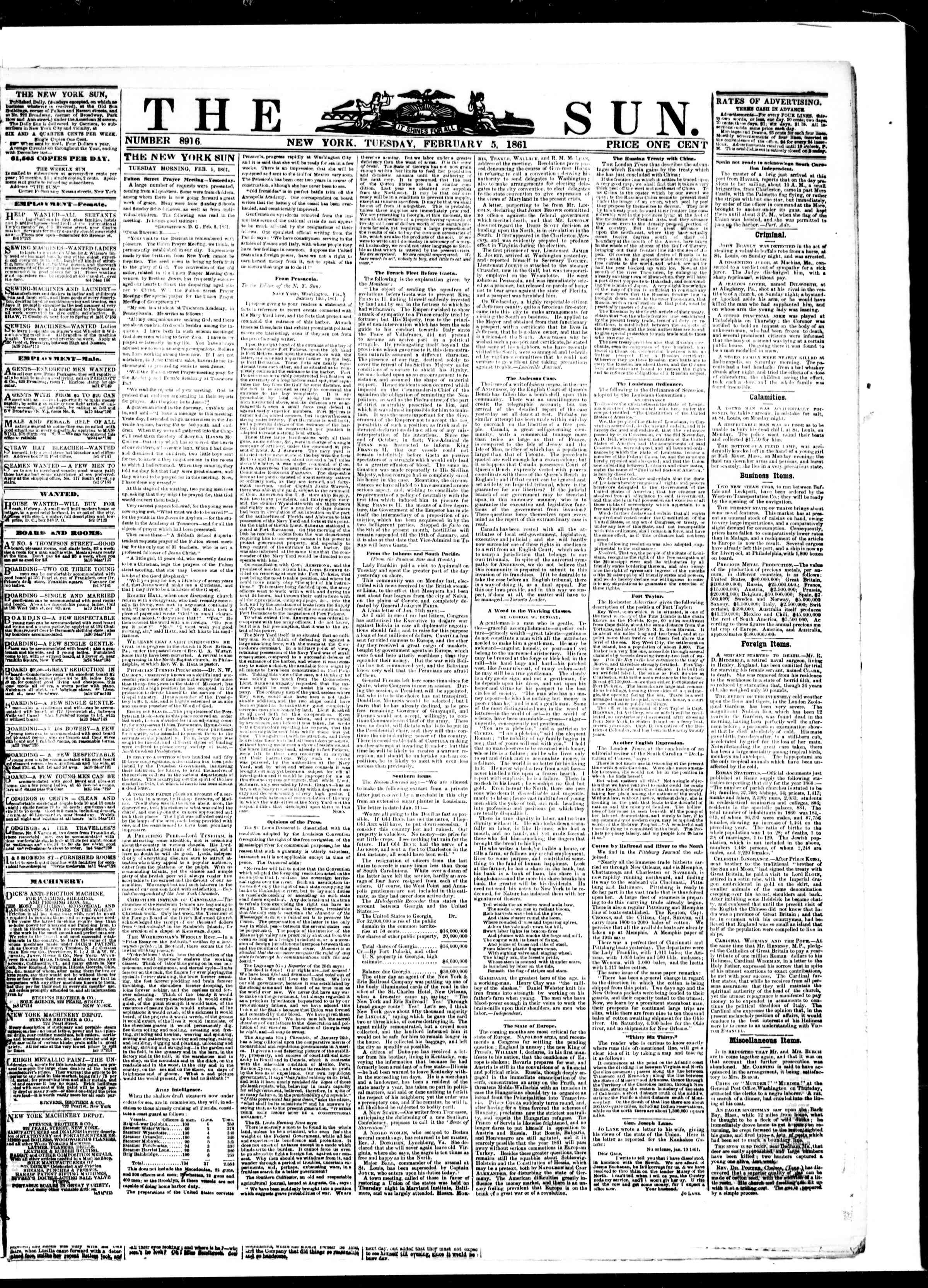 Newspaper of The Sun dated February 5, 1861 Page 1