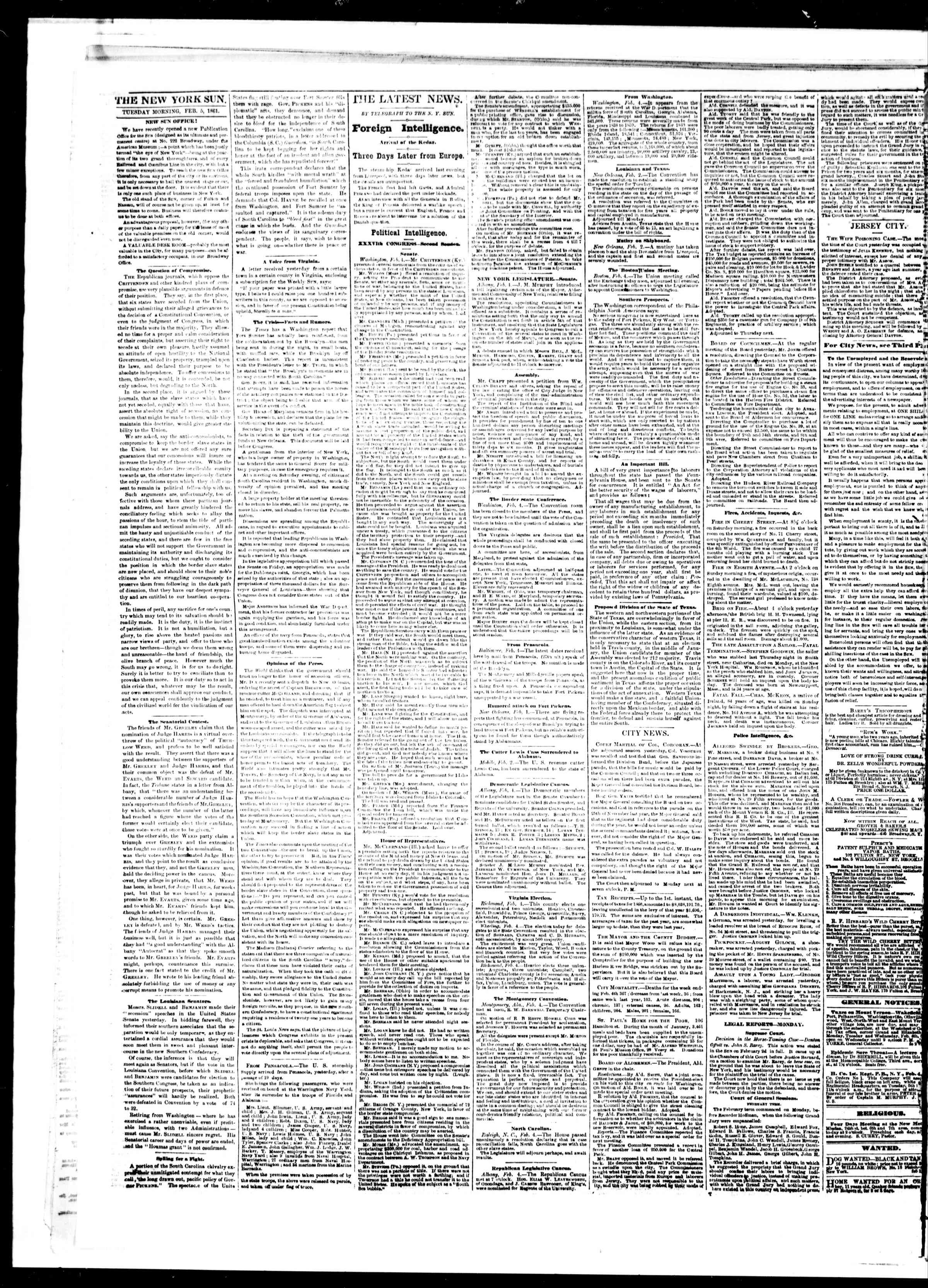 Newspaper of The Sun dated February 5, 1861 Page 2