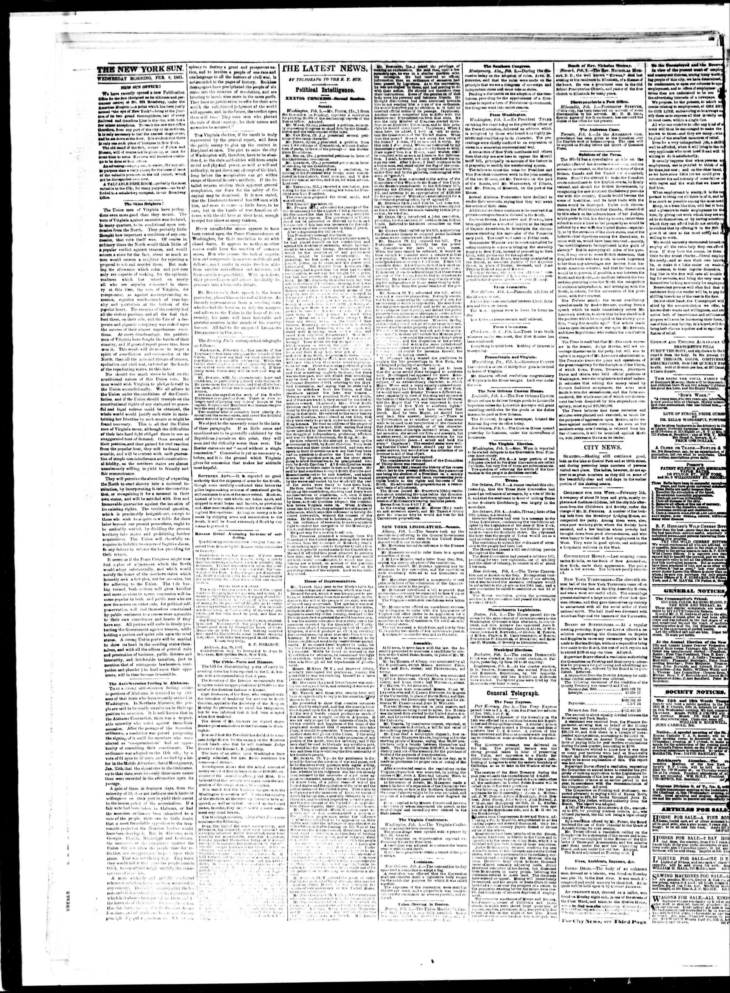 Newspaper of The Sun dated February 6, 1861 Page 2