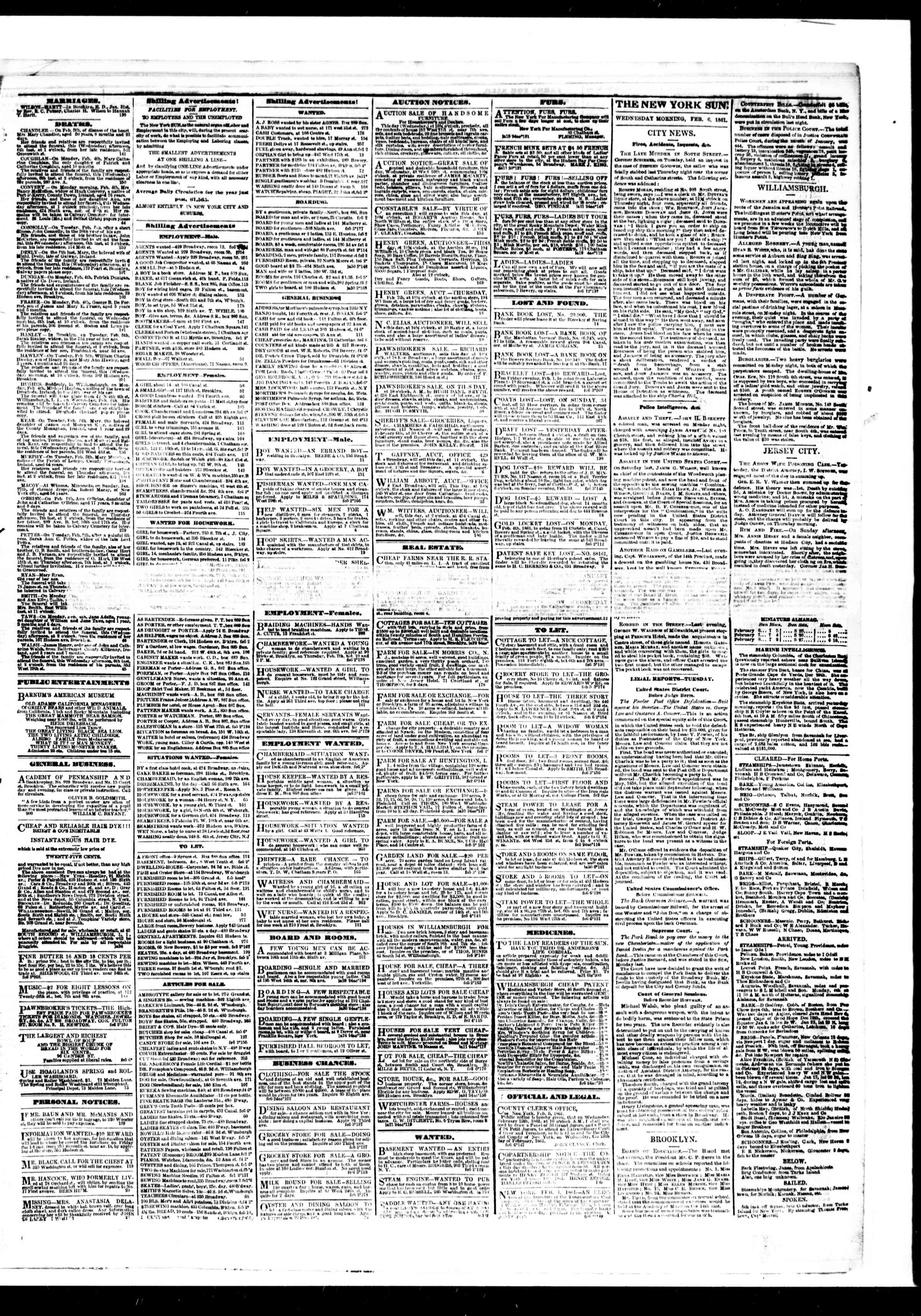 Newspaper of The Sun dated February 6, 1861 Page 3