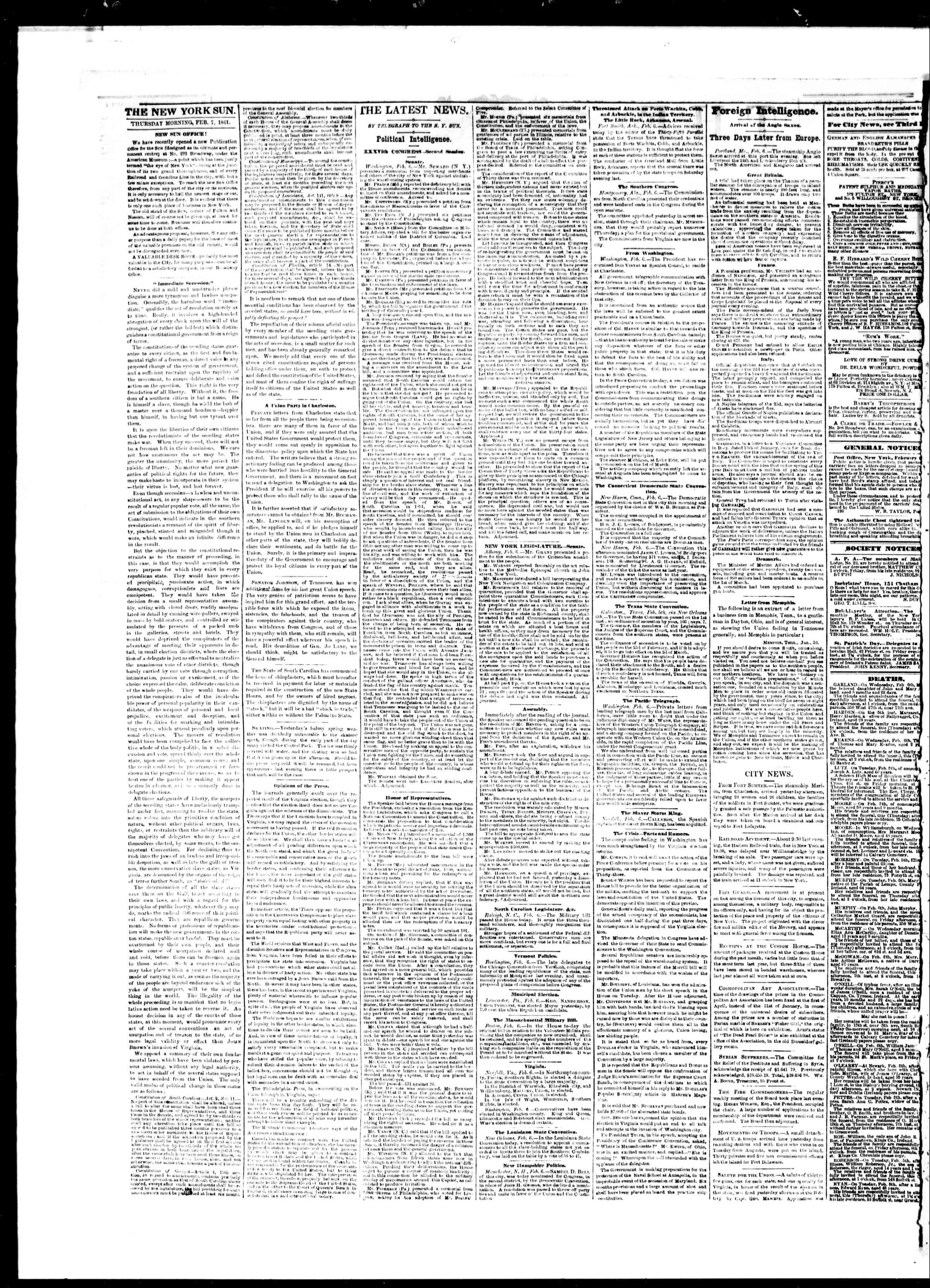 Newspaper of The Sun dated February 7, 1861 Page 2