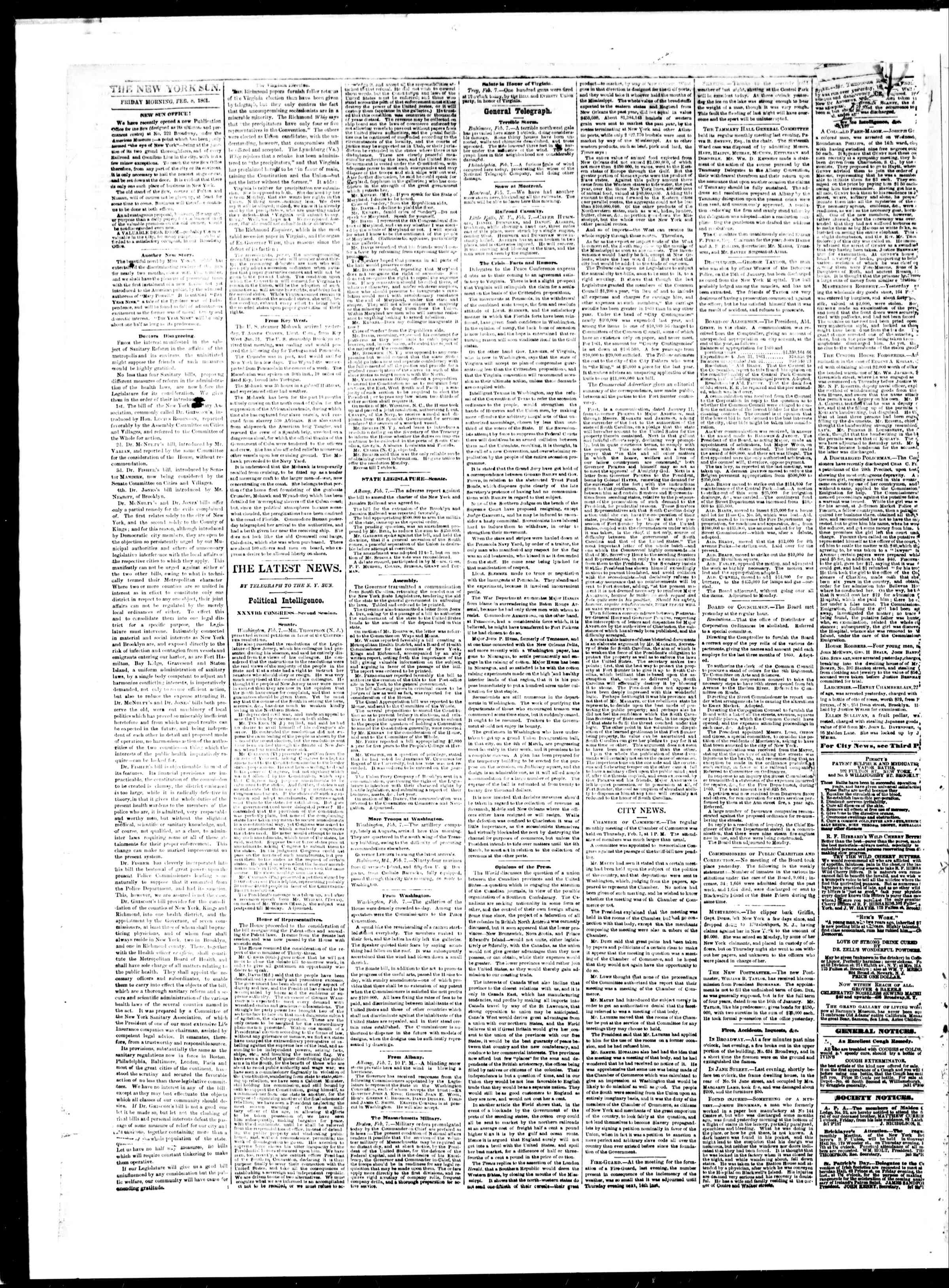Newspaper of The Sun dated February 8, 1861 Page 2