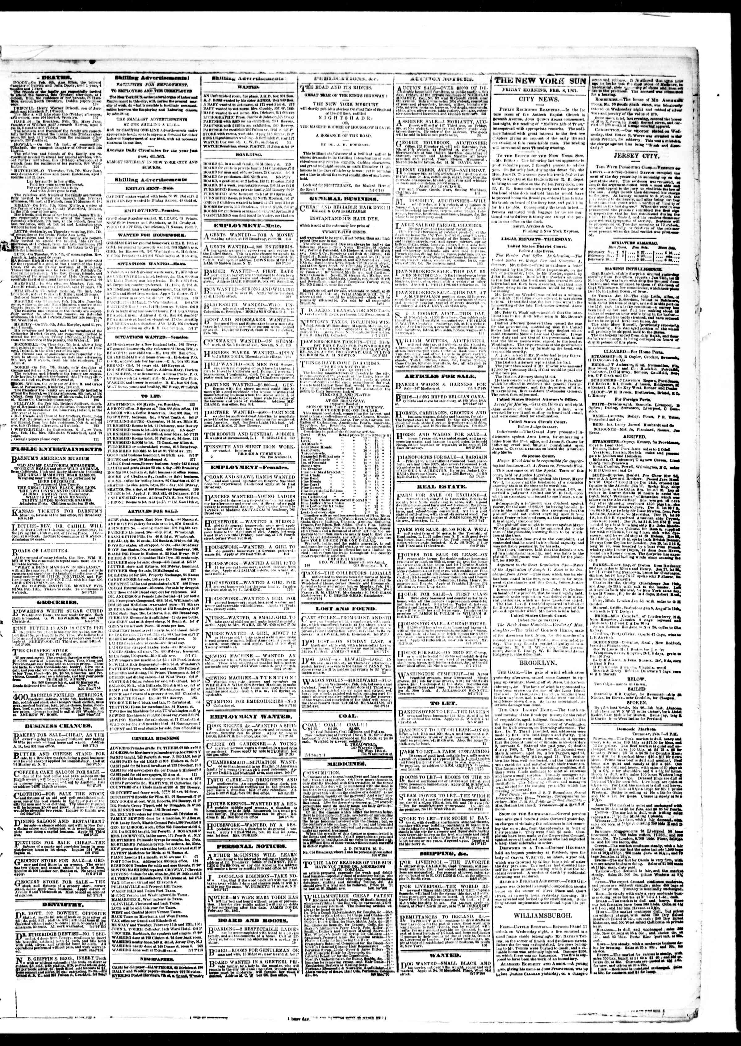 Newspaper of The Sun dated February 8, 1861 Page 3