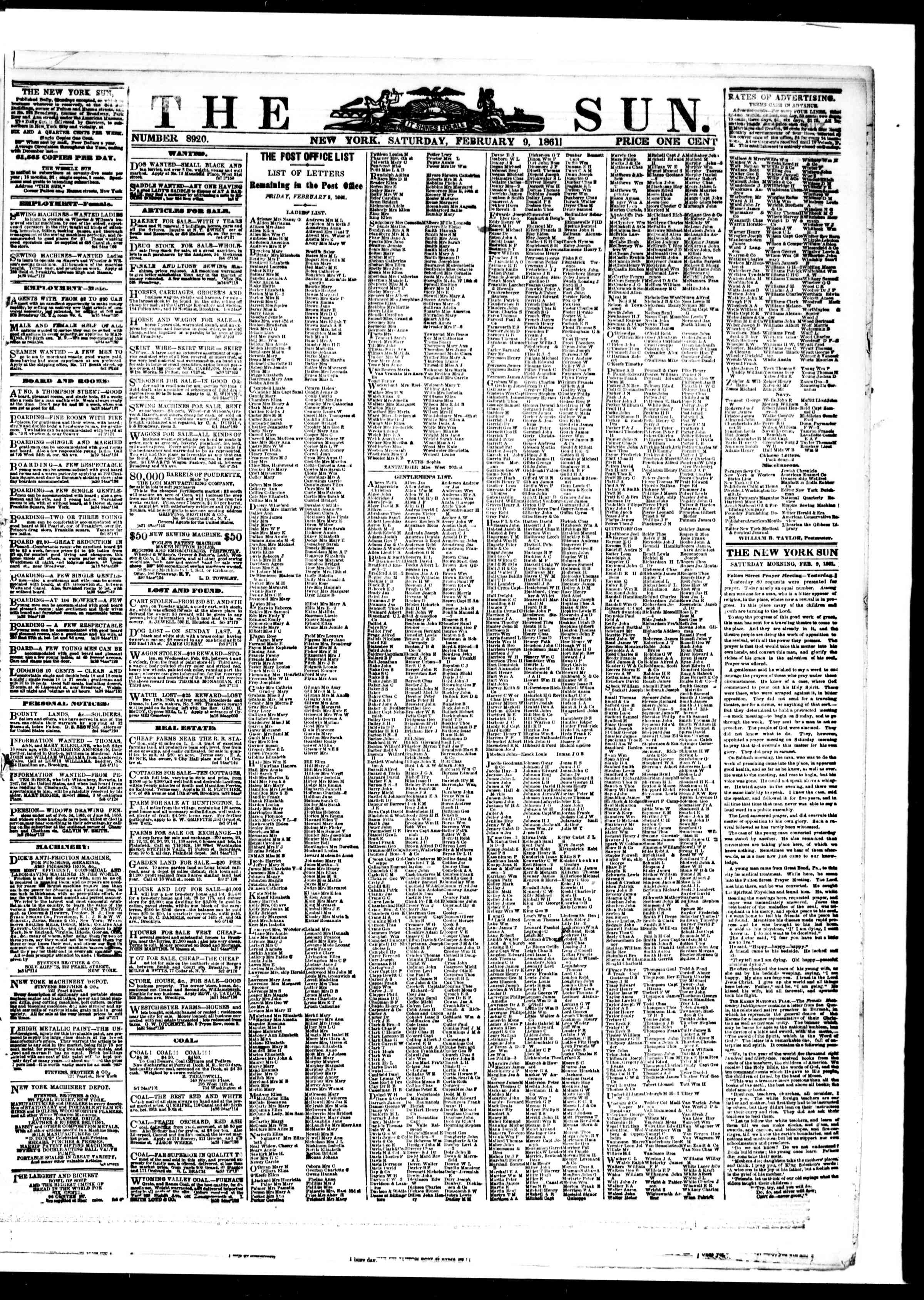 Newspaper of The Sun dated February 9, 1861 Page 1