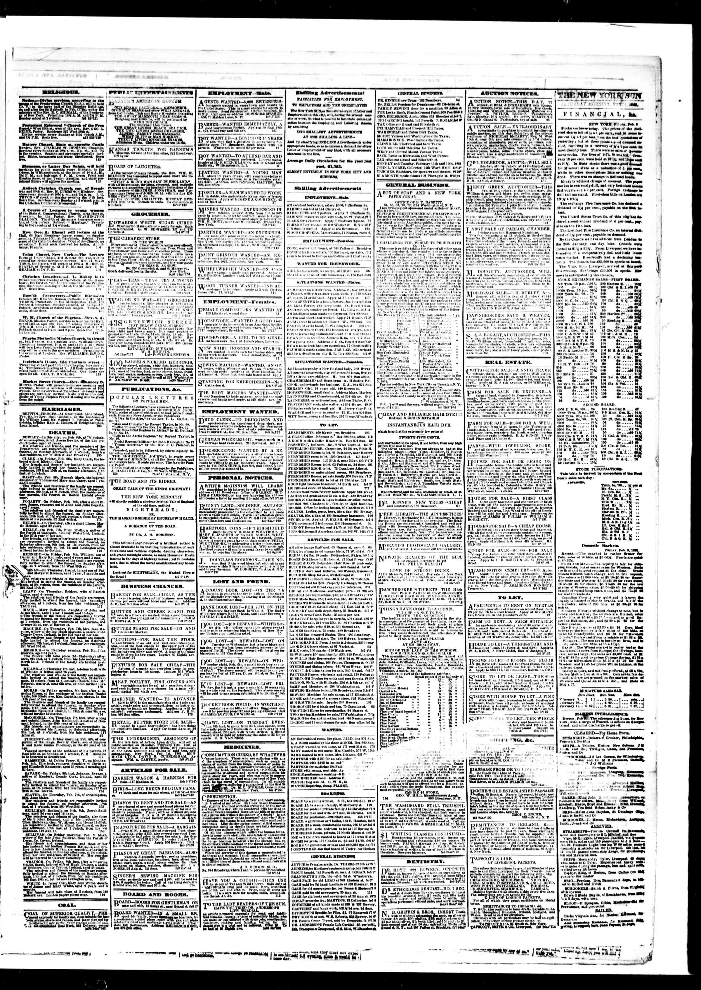 Newspaper of The Sun dated February 9, 1861 Page 3