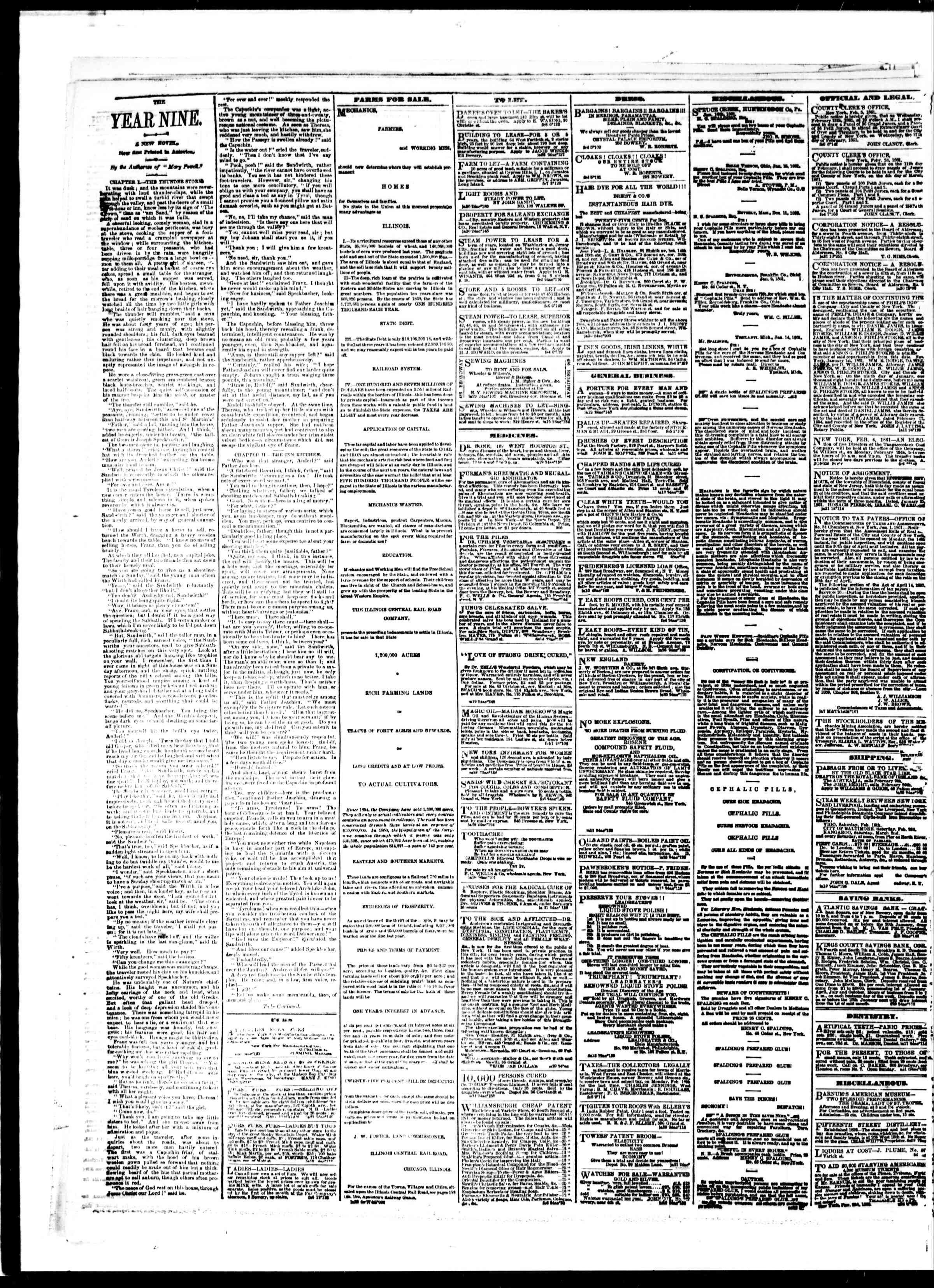 Newspaper of The Sun dated February 9, 1861 Page 4