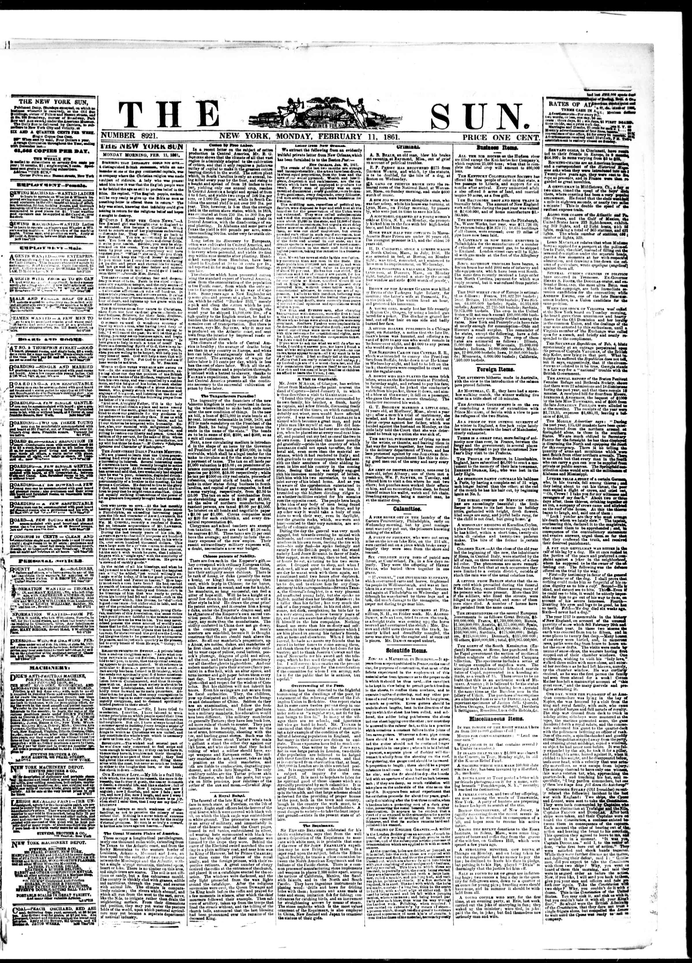 Newspaper of The Sun dated February 11, 1861 Page 1