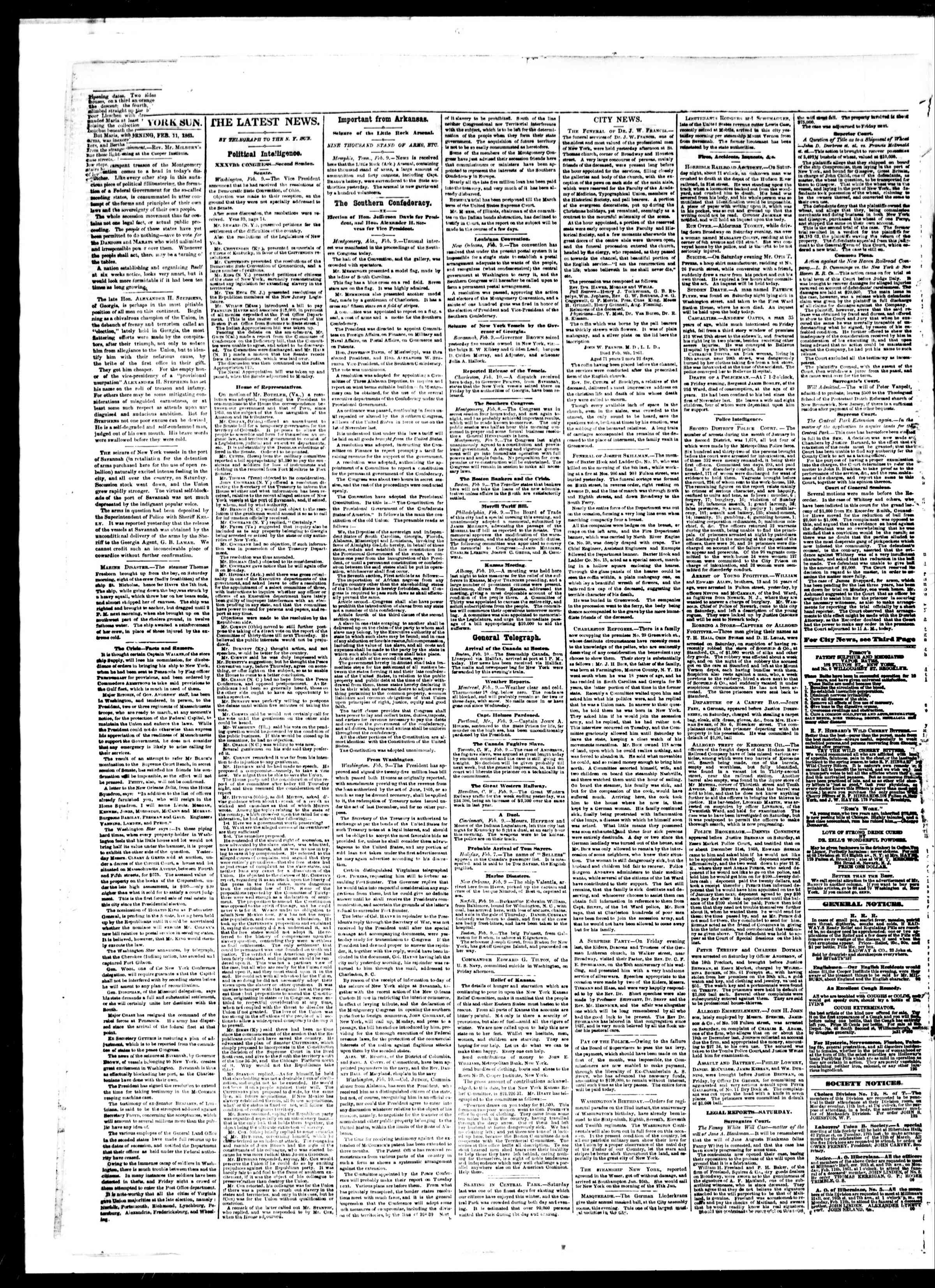 Newspaper of The Sun dated February 11, 1861 Page 2