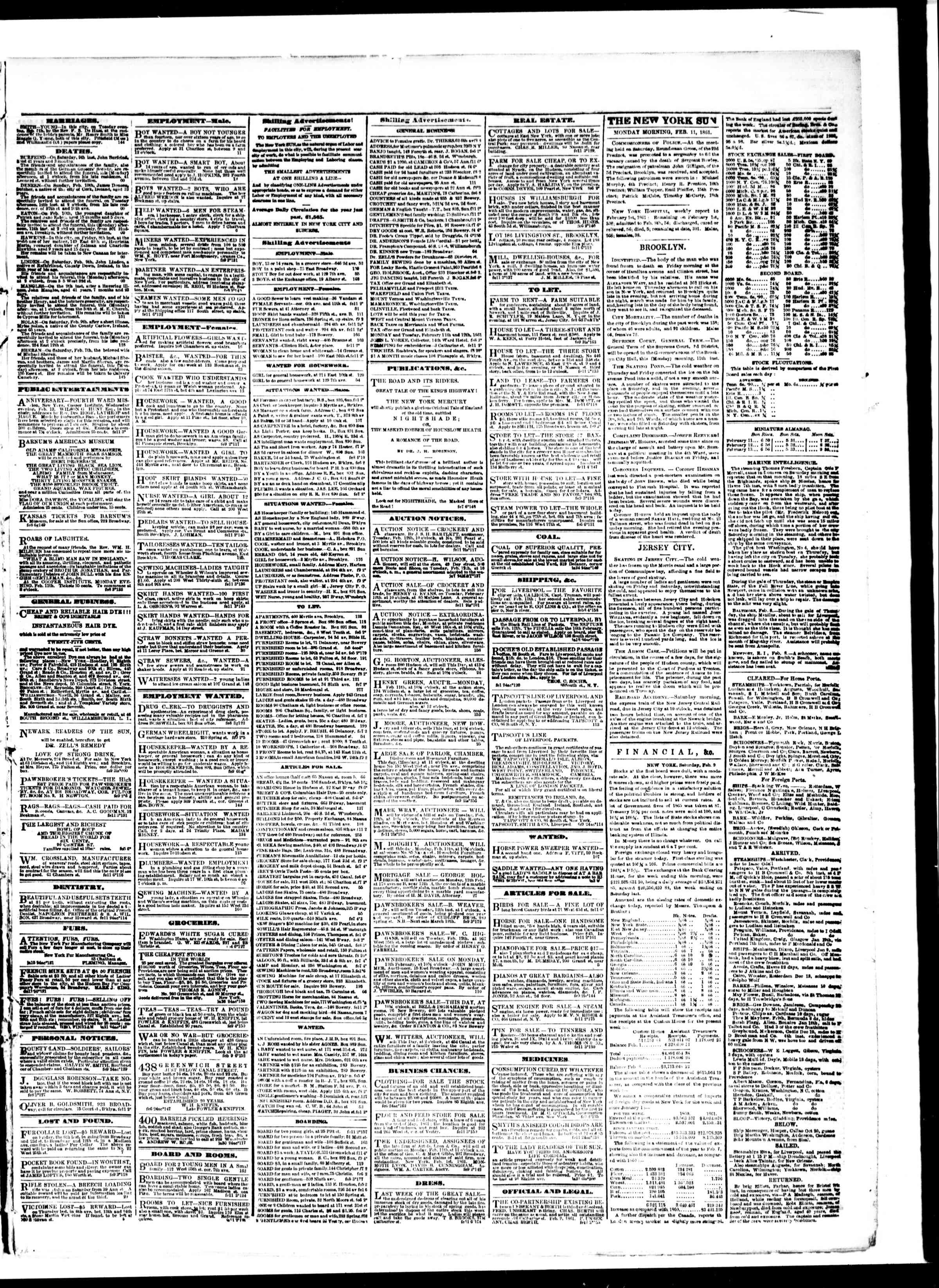 Newspaper of The Sun dated February 11, 1861 Page 3
