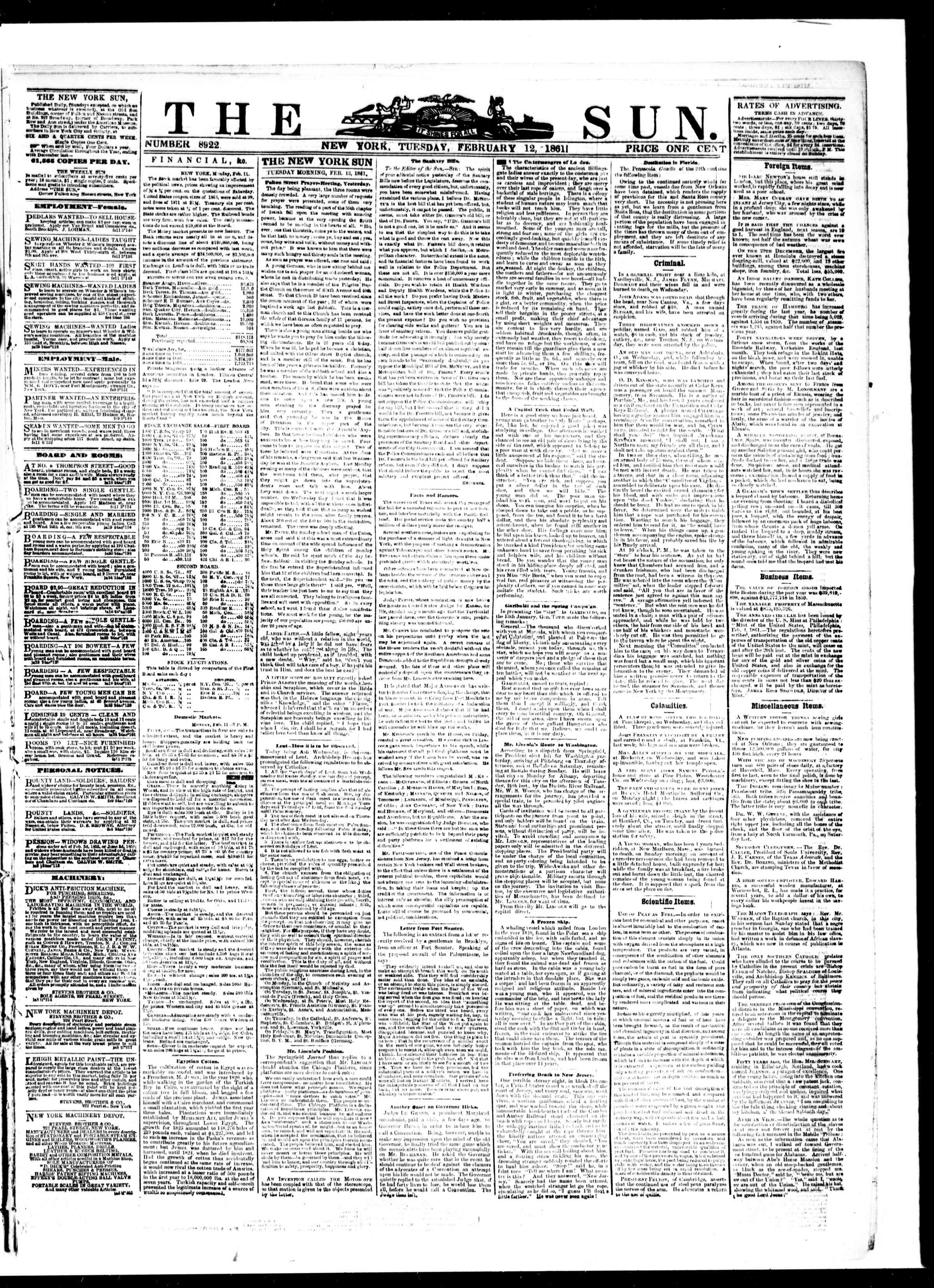 Newspaper of The Sun dated February 12, 1861 Page 1