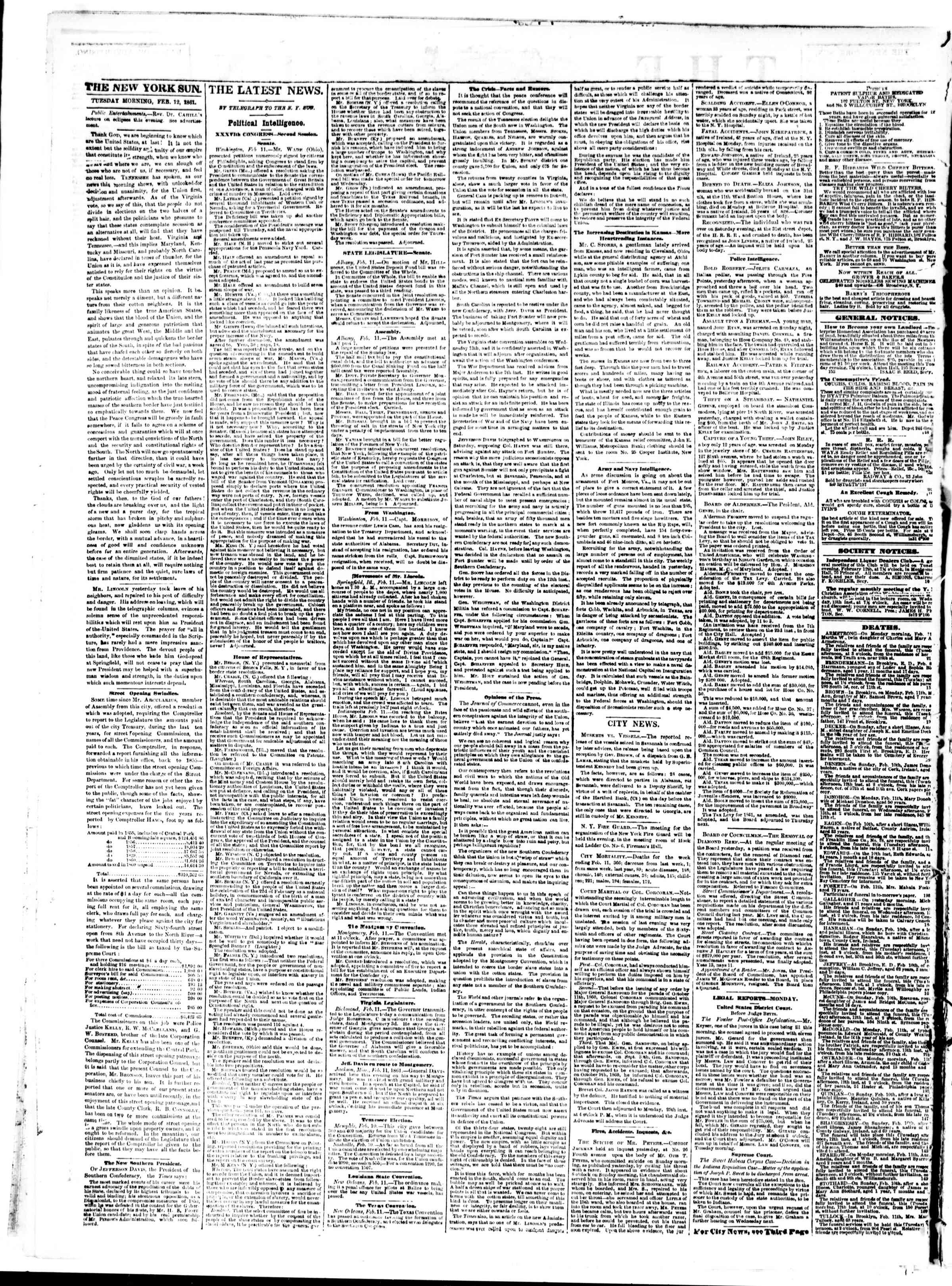 Newspaper of The Sun dated February 12, 1861 Page 2