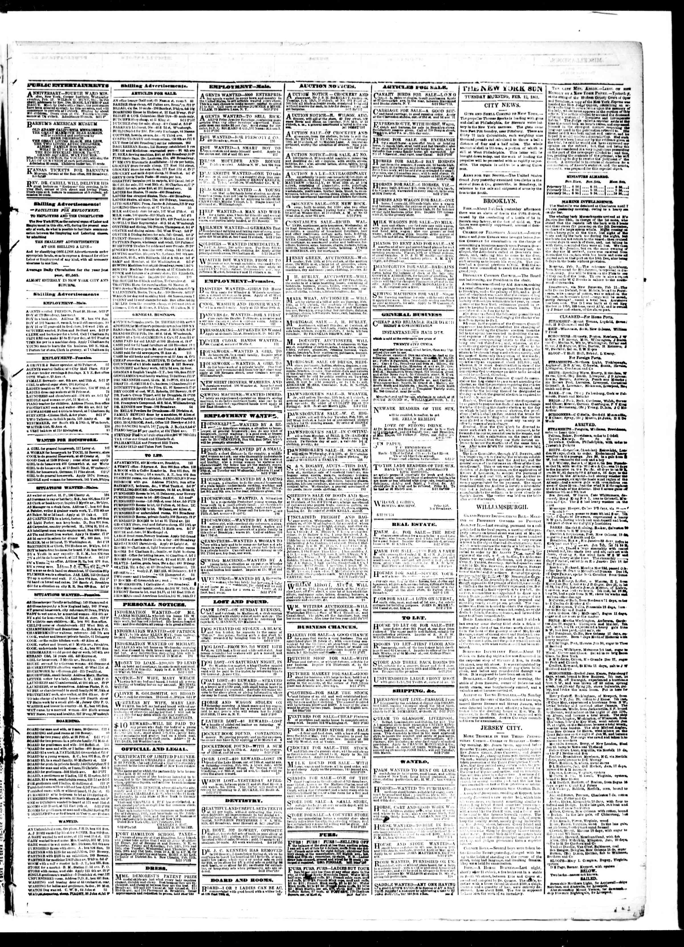 Newspaper of The Sun dated February 12, 1861 Page 3