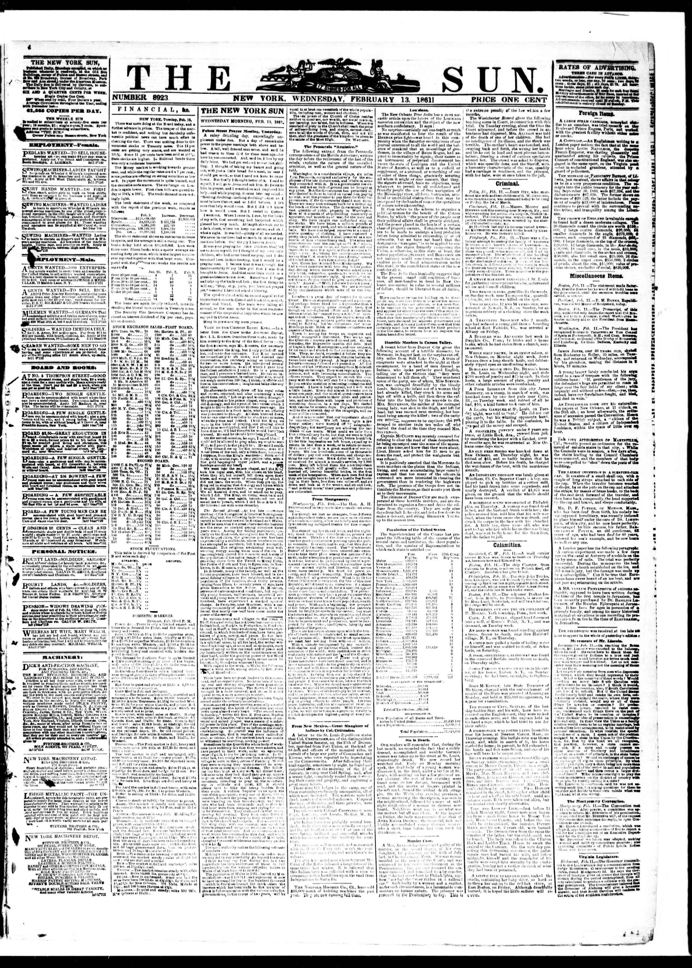 Newspaper of The Sun dated February 13, 1861 Page 1