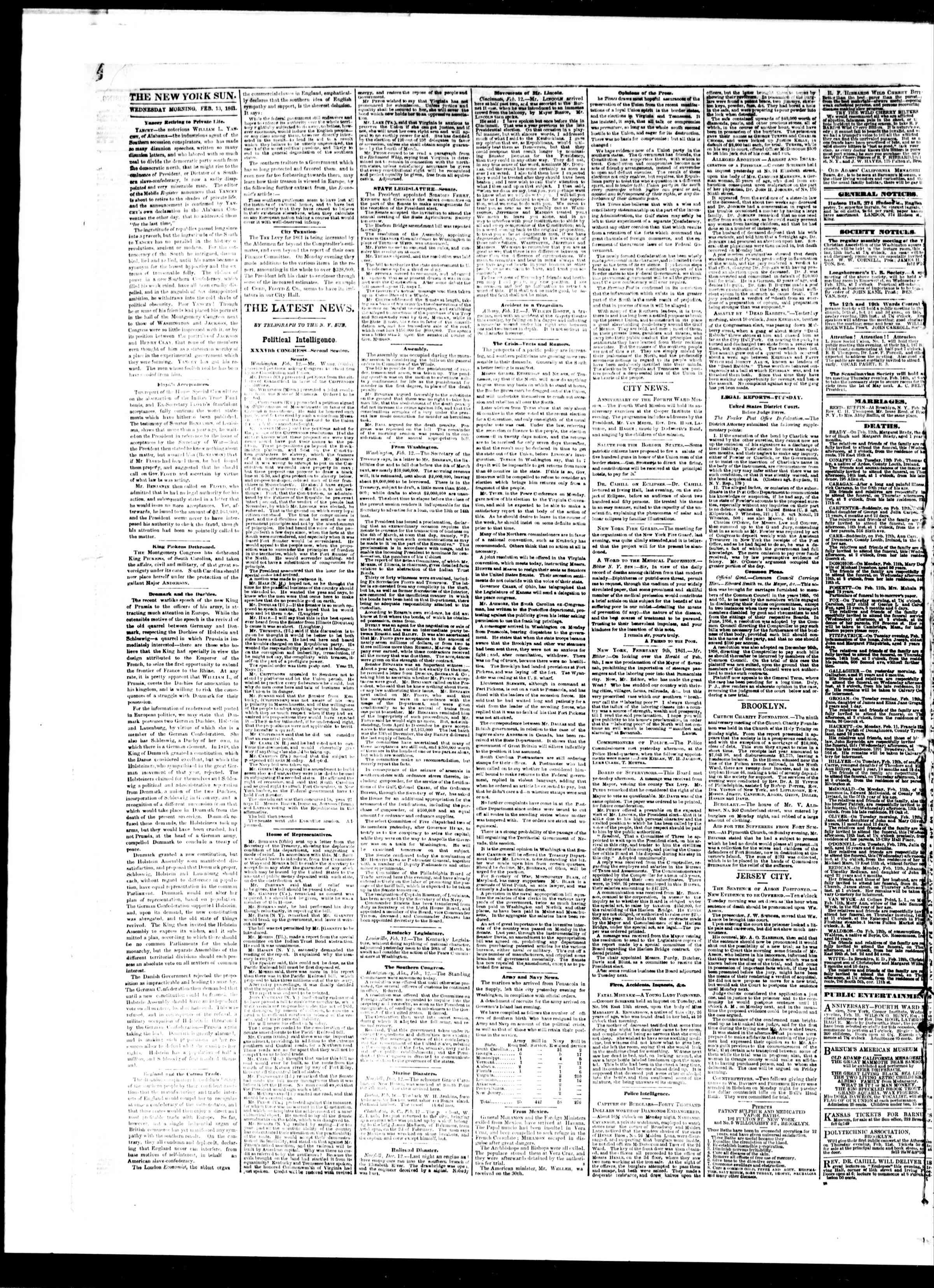 Newspaper of The Sun dated February 13, 1861 Page 2