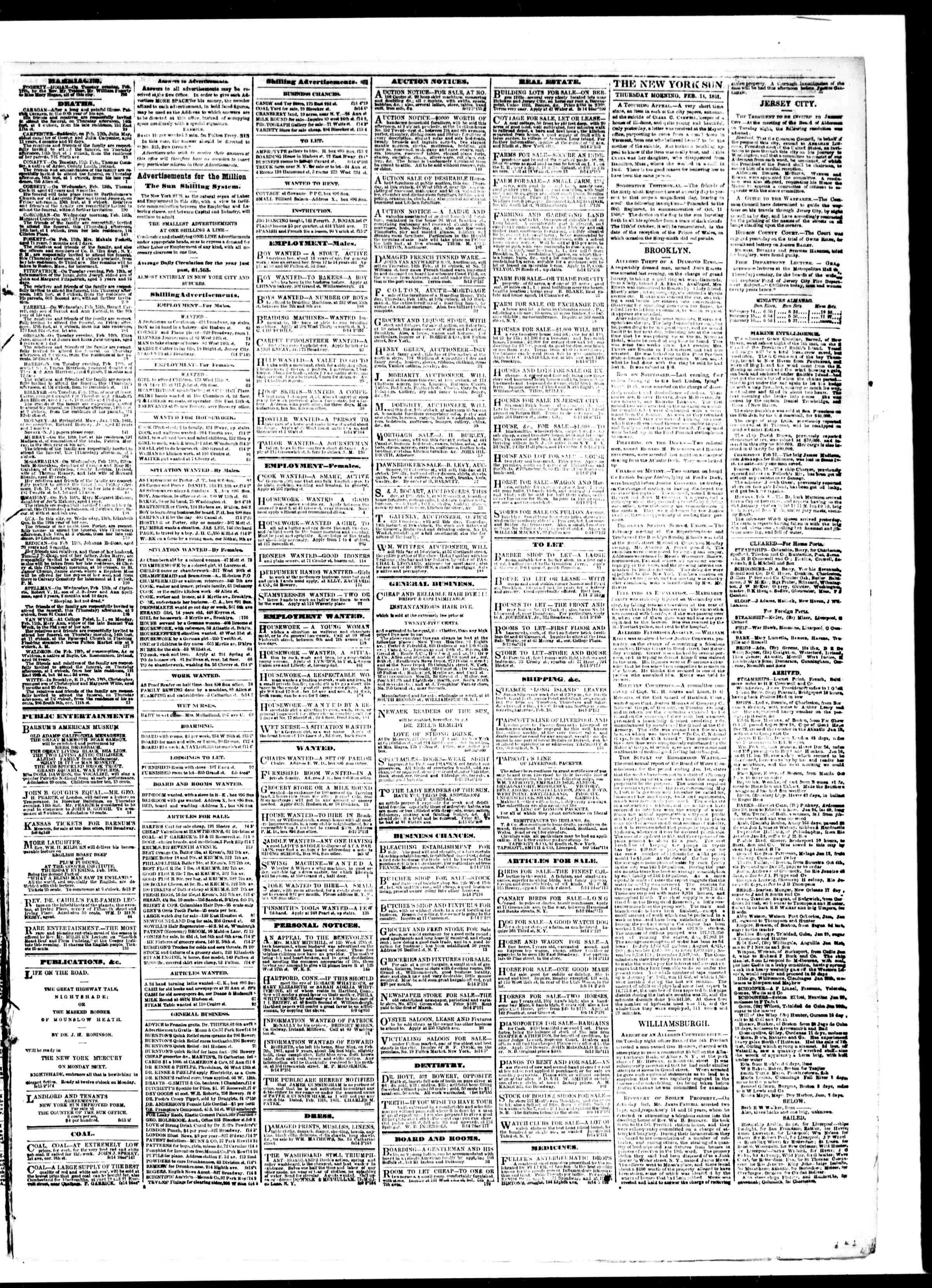 Newspaper of The Sun dated February 14, 1861 Page 3