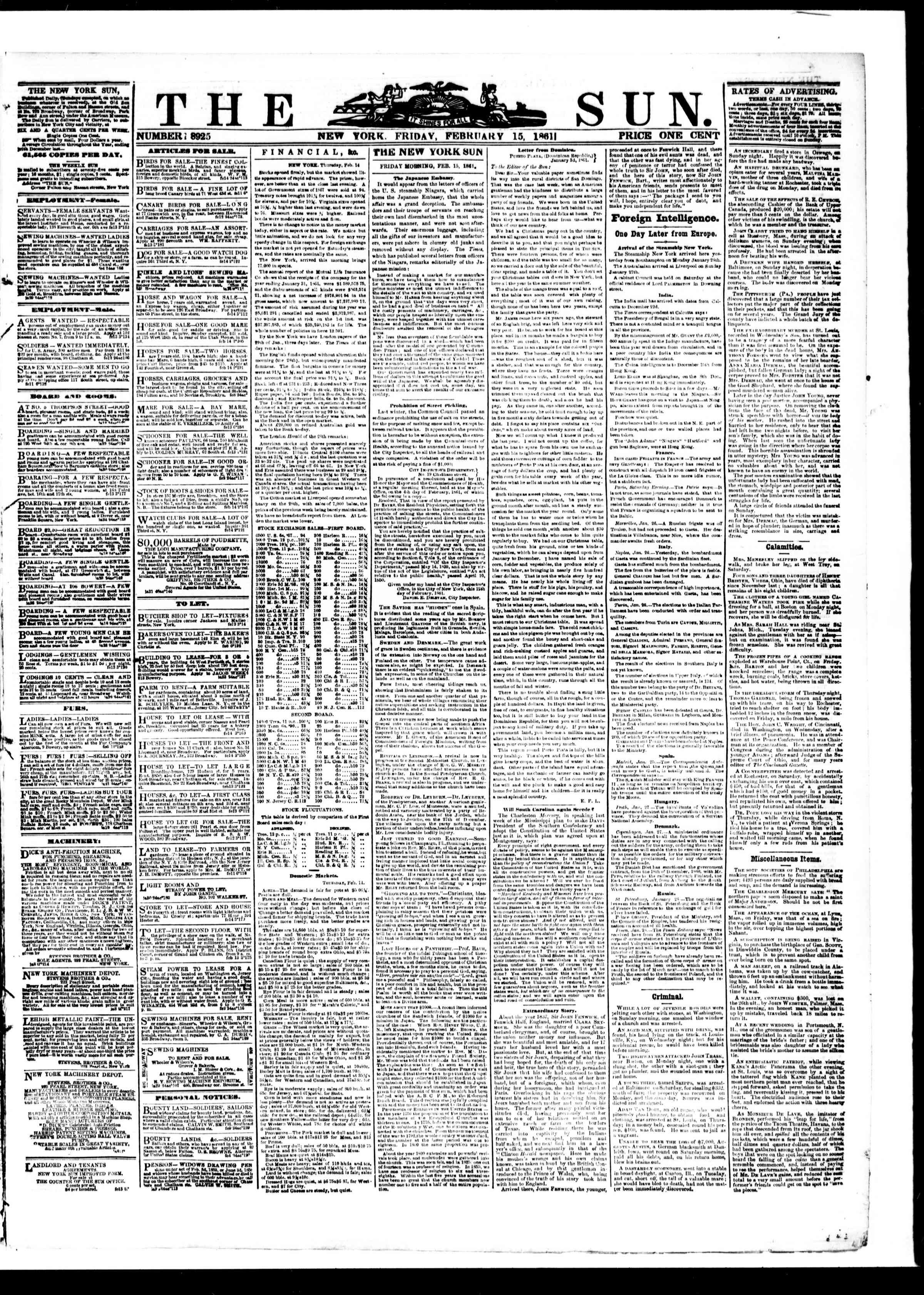 Newspaper of The Sun dated February 15, 1861 Page 1