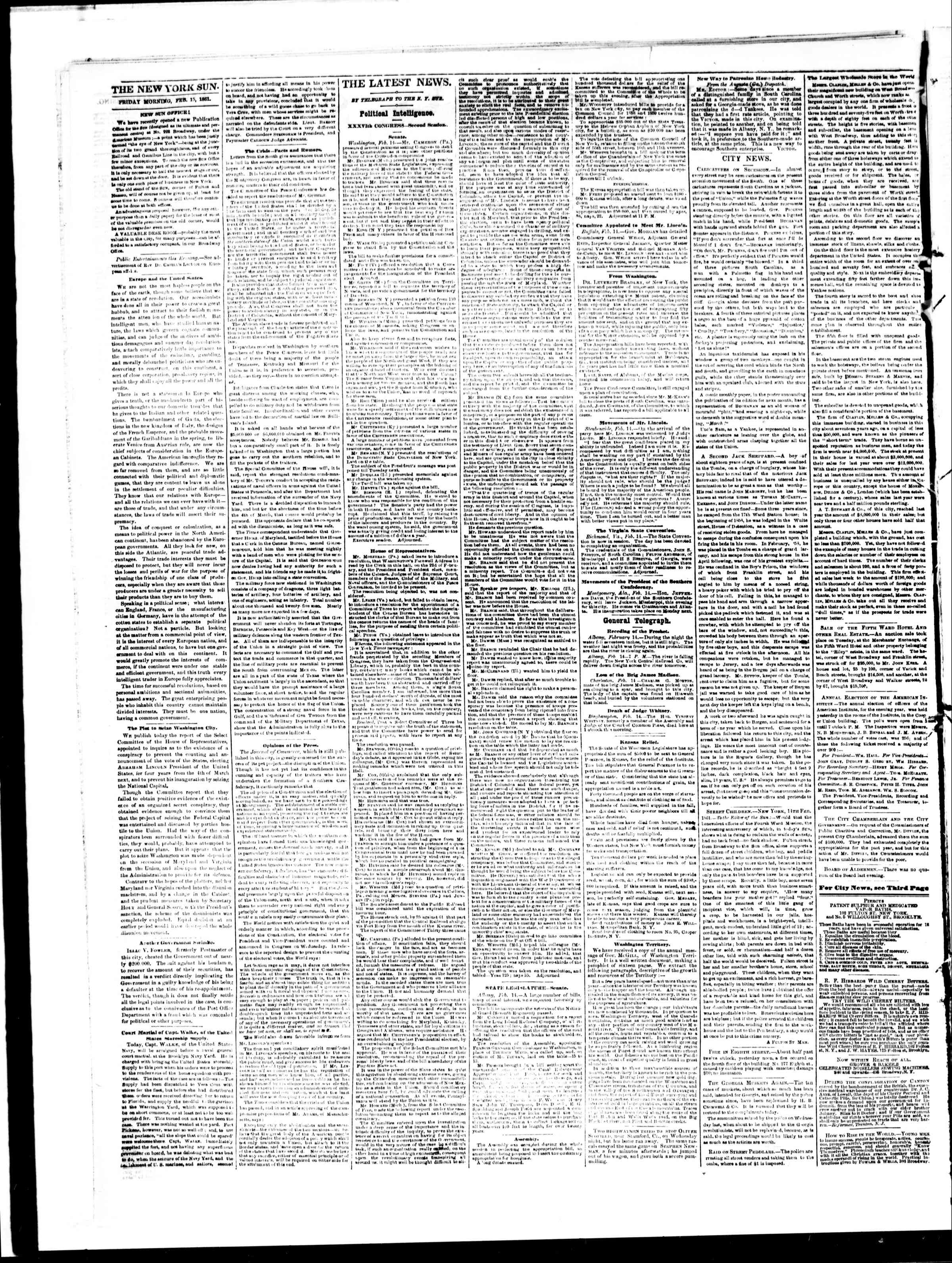 Newspaper of The Sun dated February 15, 1861 Page 2