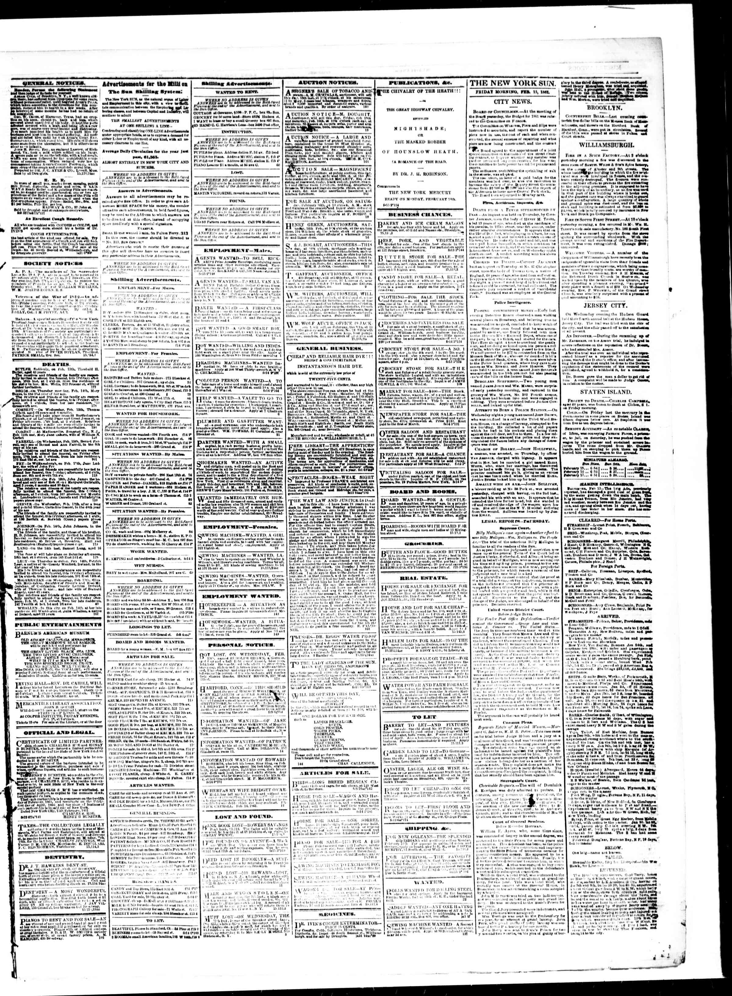 Newspaper of The Sun dated February 15, 1861 Page 3