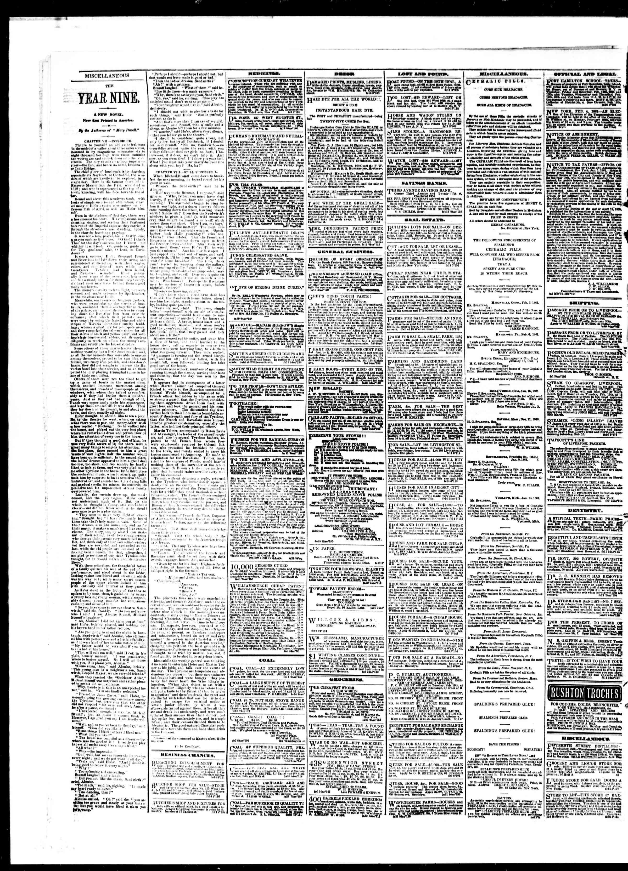 Newspaper of The Sun dated February 15, 1861 Page 4