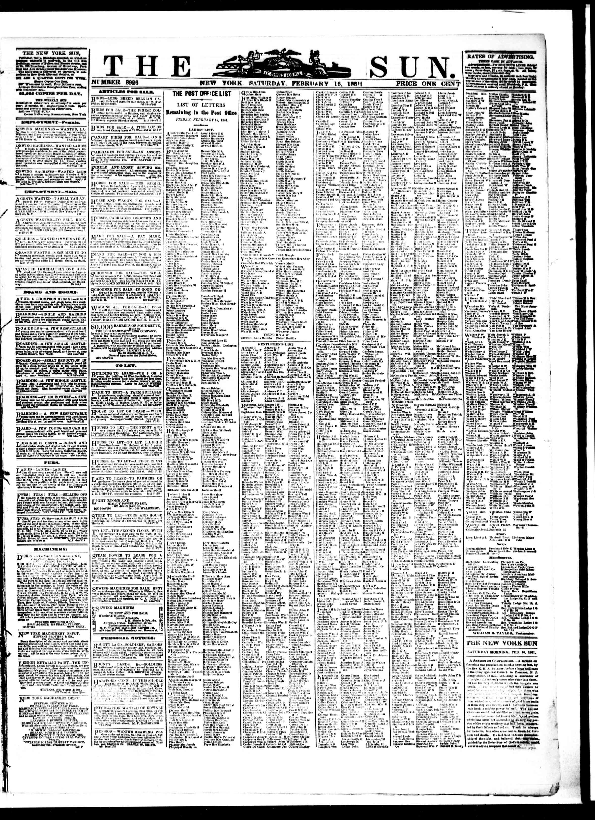 Newspaper of The Sun dated February 16, 1861 Page 1