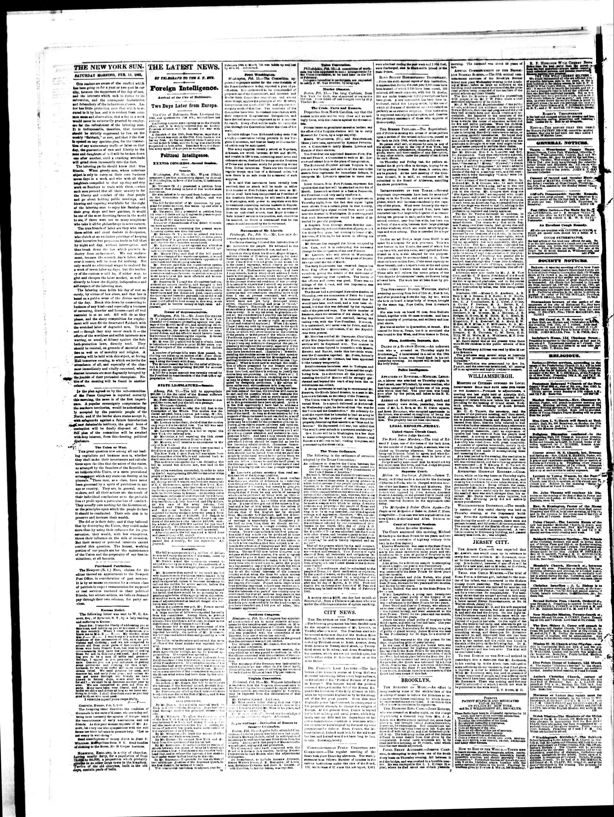 Newspaper of The Sun dated February 16, 1861 Page 2