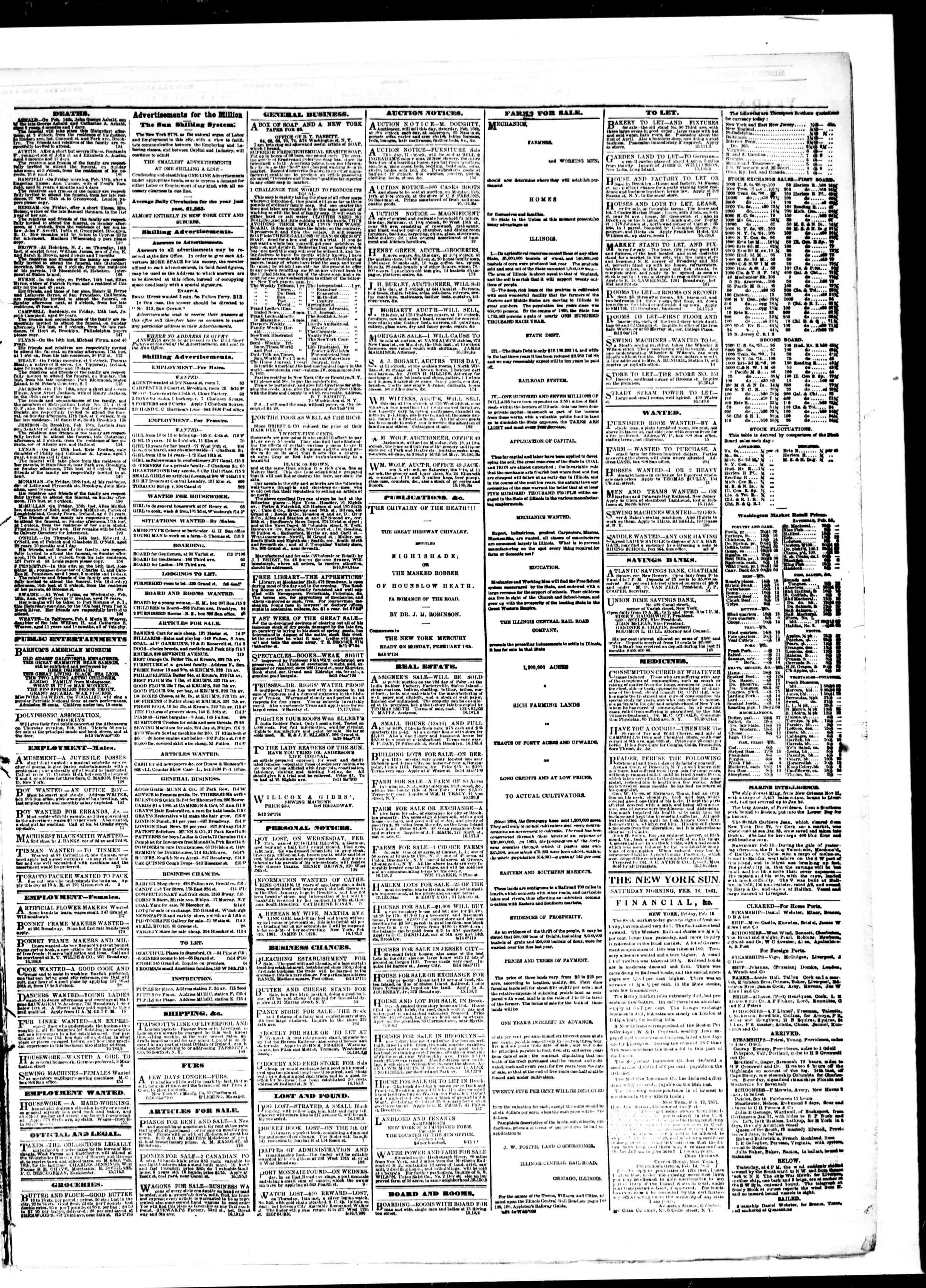 Newspaper of The Sun dated February 16, 1861 Page 3
