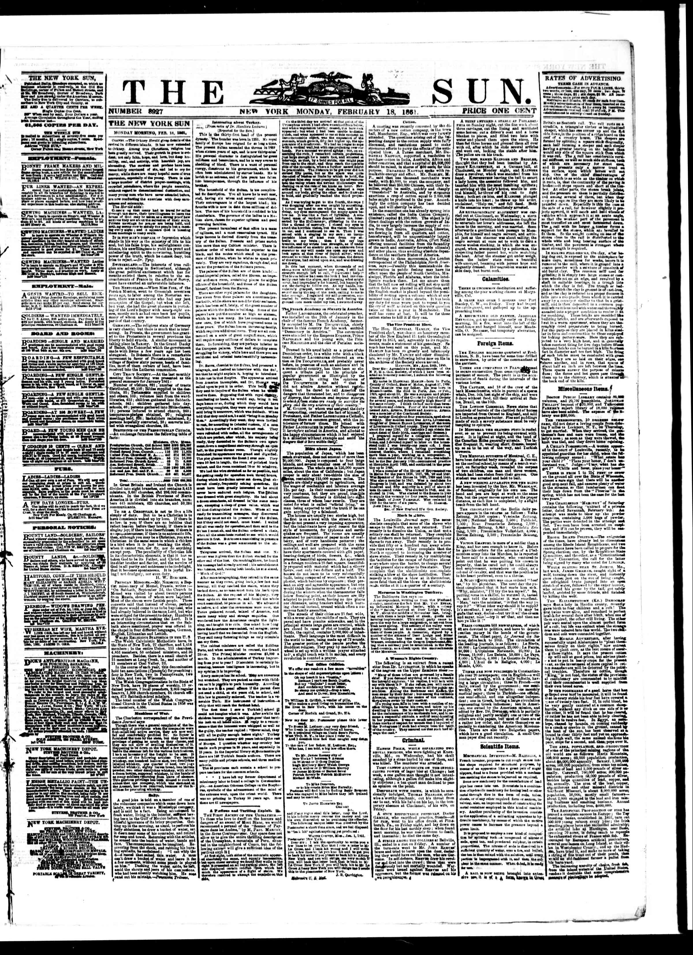 Newspaper of The Sun dated February 18, 1861 Page 1
