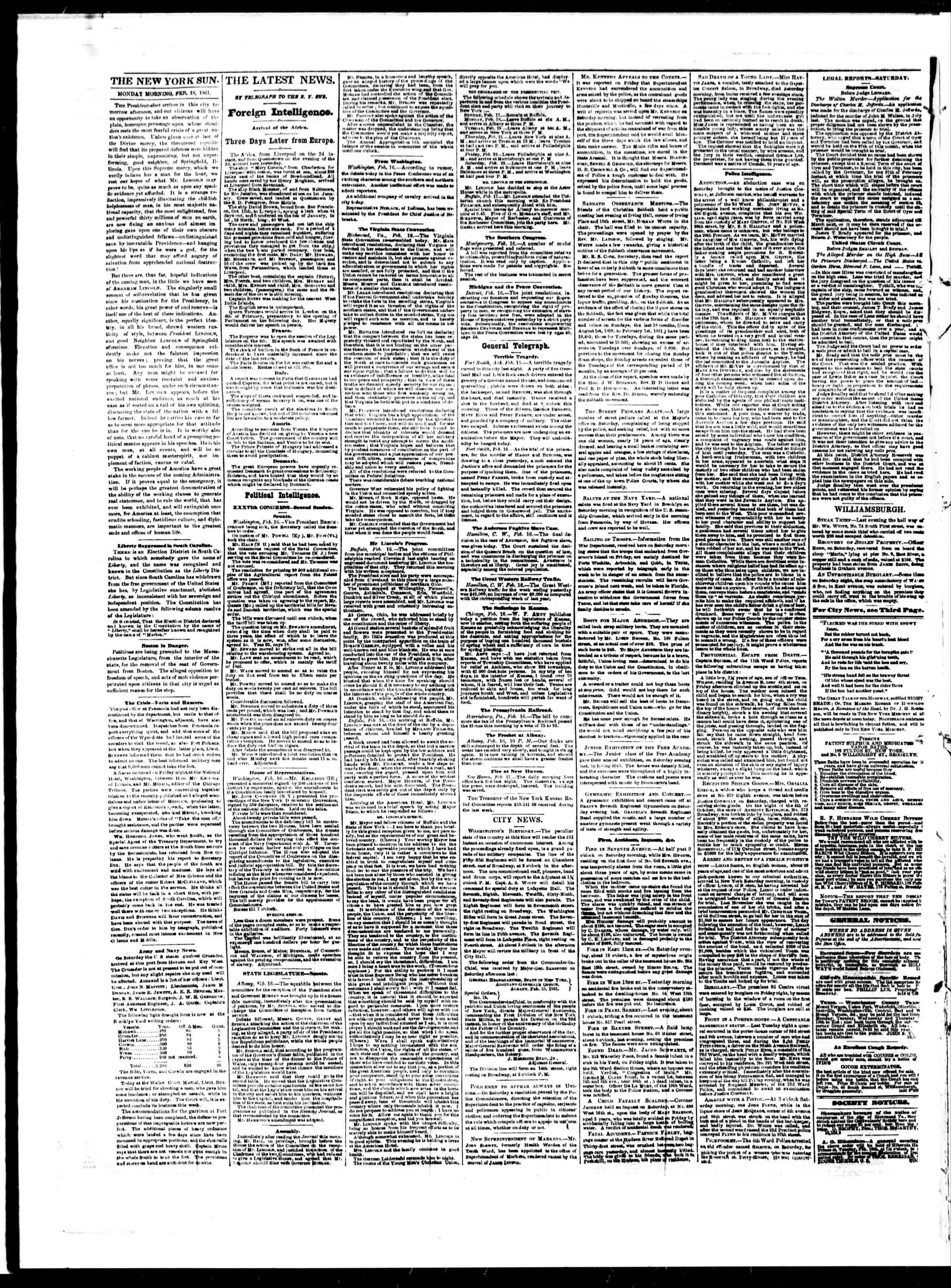 Newspaper of The Sun dated February 18, 1861 Page 2